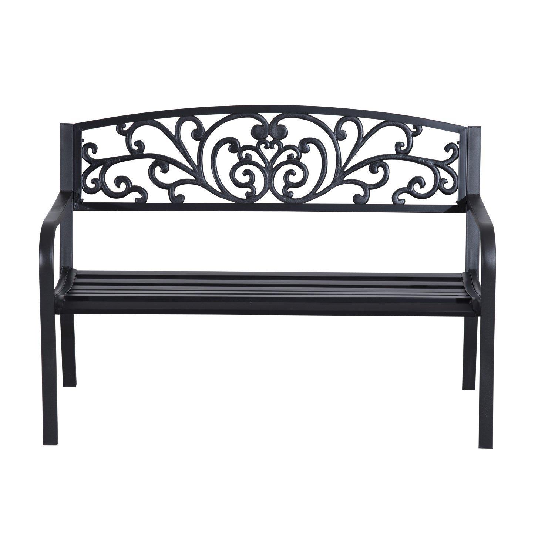 Patio-Park-Garden-Bench-Porch-Path-Chair-Outdoor-Lawn-Garden-Black-2-Seat thumbnail 4
