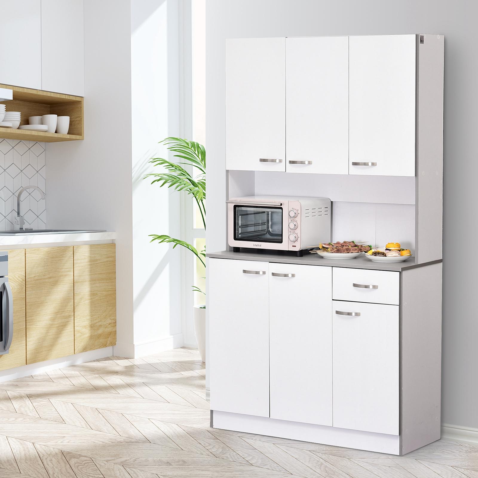 Details about HOMCOM Kitchen Pantry Cupboard Wooden Storage Cabinet  Organizer Shelf White