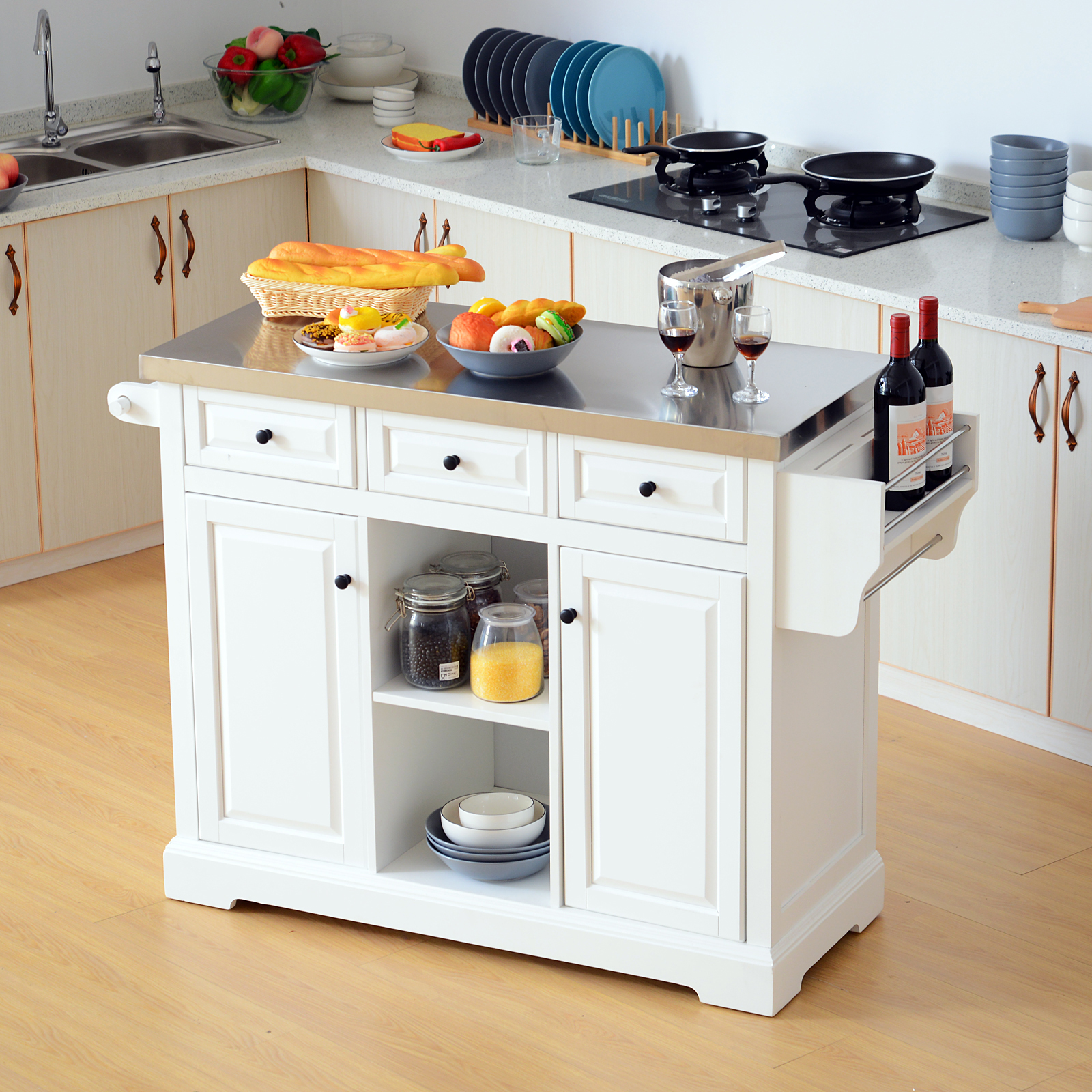 HomCom kitchen trolley with wheels with Drawers Wood Cabinet