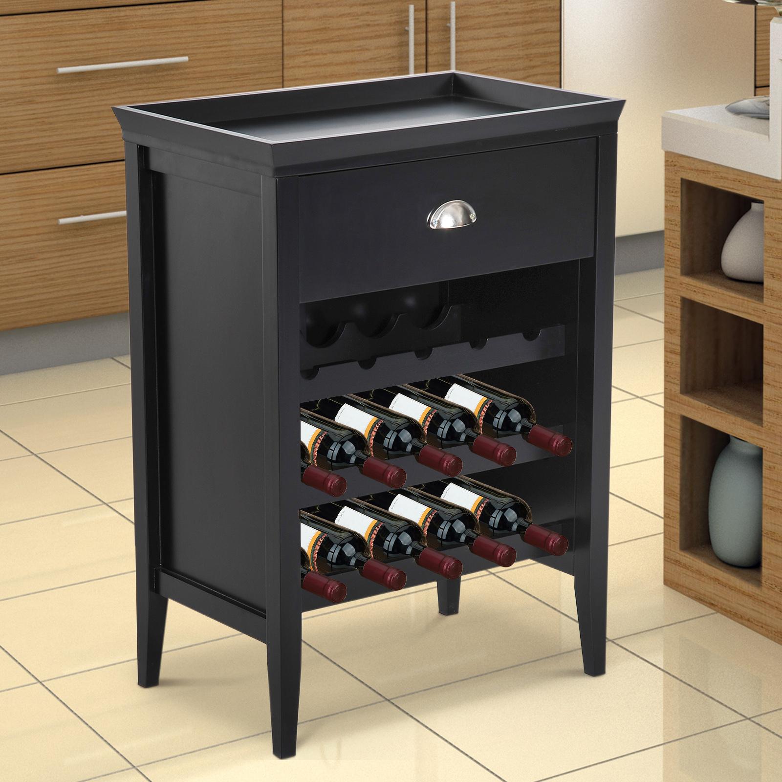 Charmant Details About 15 Bottle Wood Wine Rack Cabinet Holder Organizer Home Bar  Display W/ Drawer
