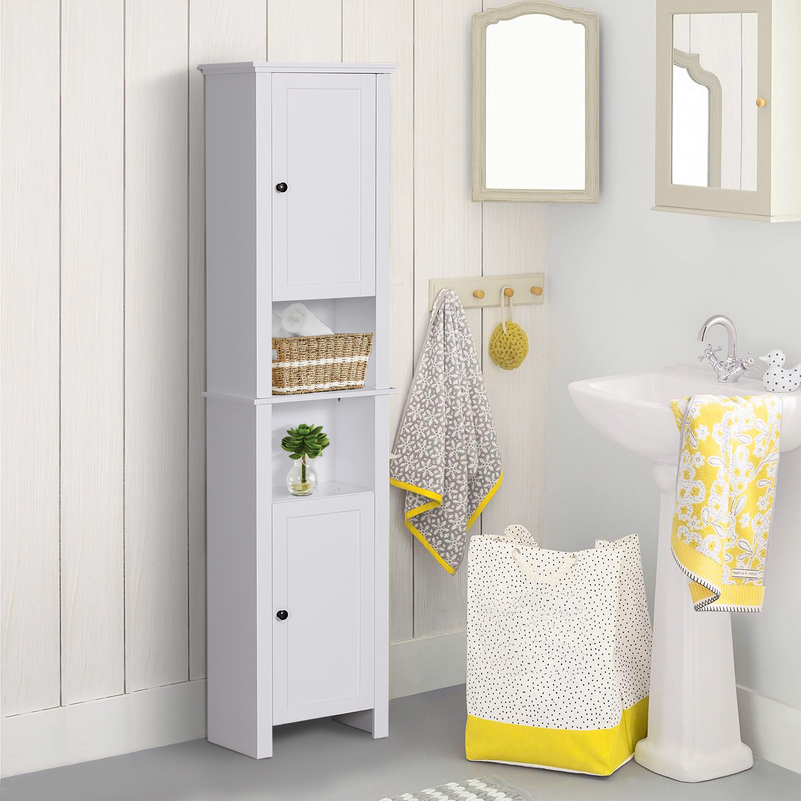 . Details about 67  Wooden Tall Free Standing Stand Alone Bathroom Linen  Tower Storage Cabinet