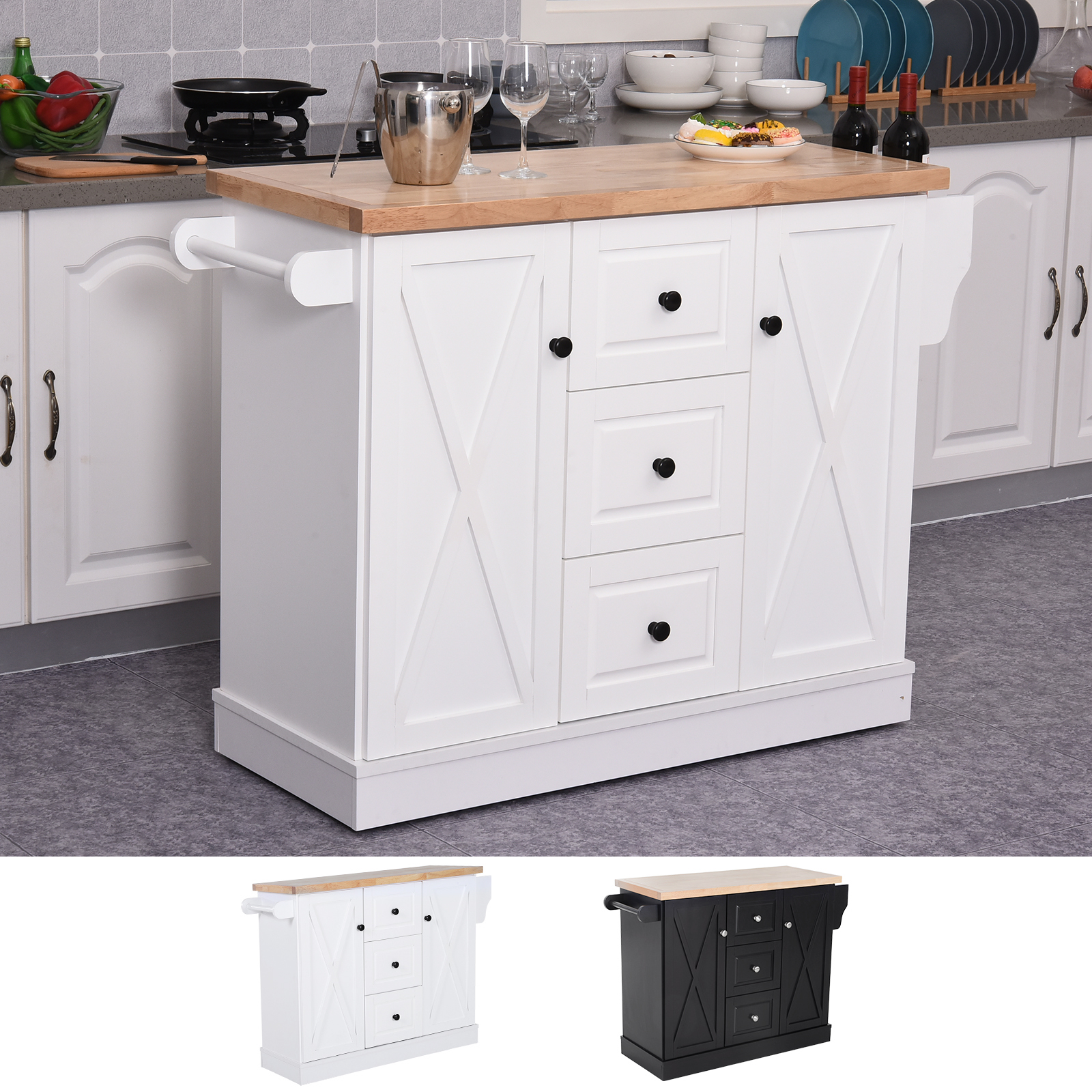 Details about Portable Rolling Kitchen Island Cart with Spice Rack and  Towel Rack Wood