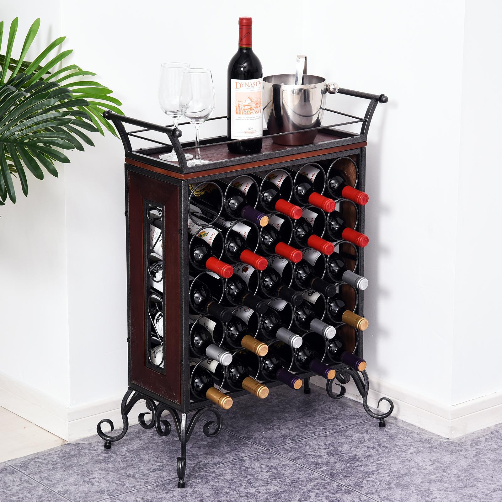 Details about 5-Tier 25 Wine Bottle Rack Display Storage Cart Organizer Bar  Kitchen Cellar