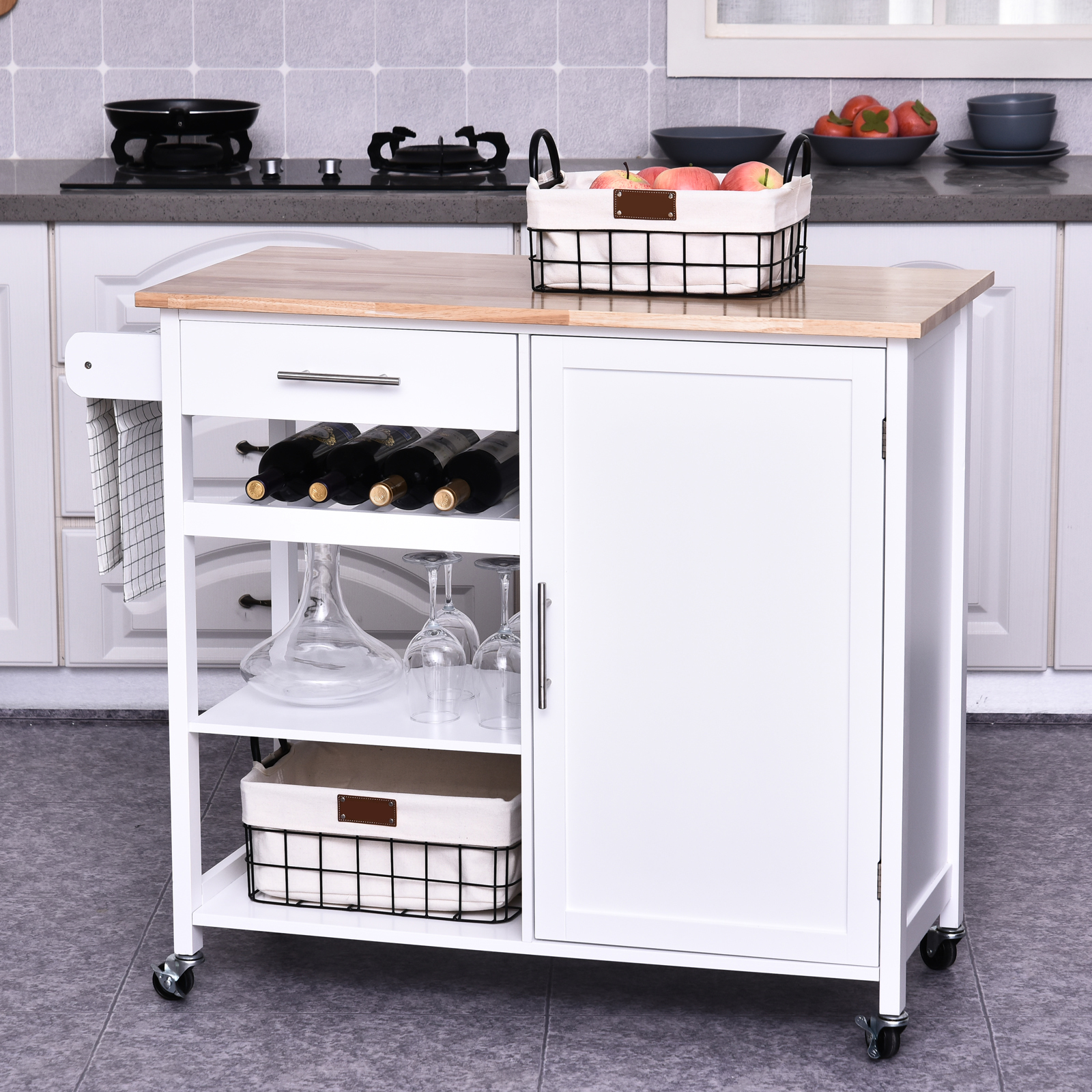 Homcom Rolling Kitchen Island Cart With Large Countertop And Storage Cabinet Ebay