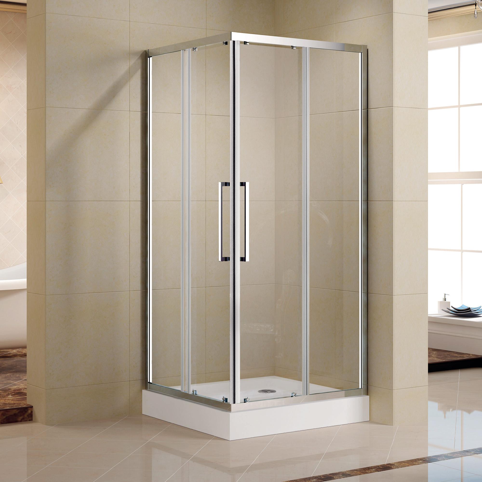 Semi Framed Bathroom Shower Sliding Glass Door Corner Kit Enclosure