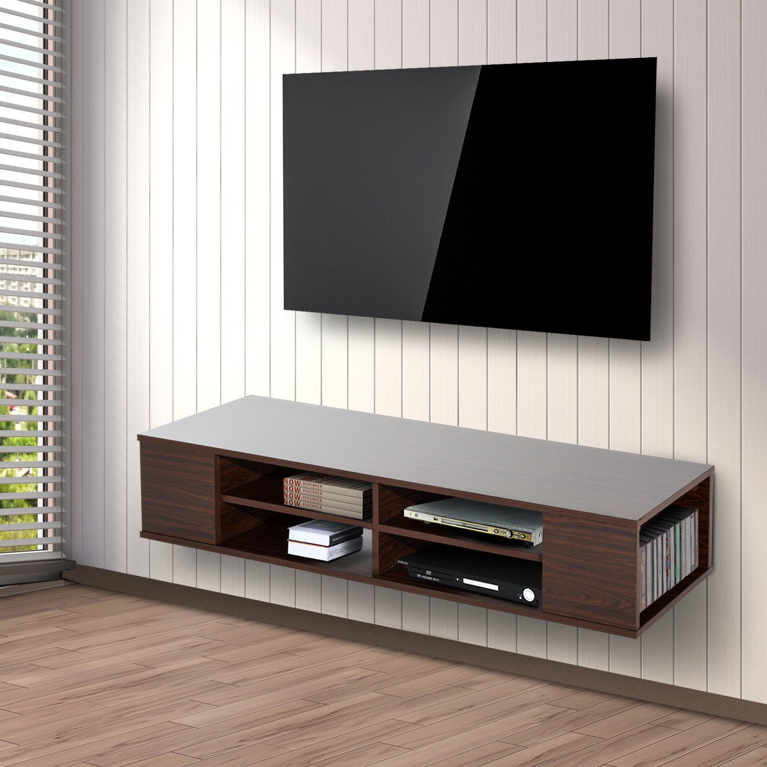 homcom floating tv stand cabinet wall mounted. Black Bedroom Furniture Sets. Home Design Ideas