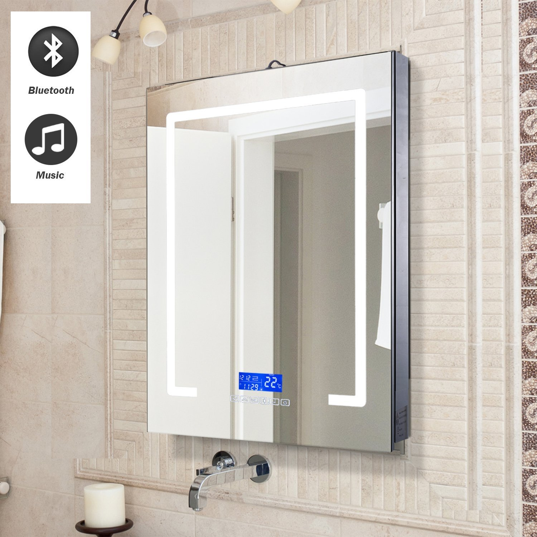 Wall LED Illuminated Bathroom Mirror Cabinet w/Bluetooth Speakers ...