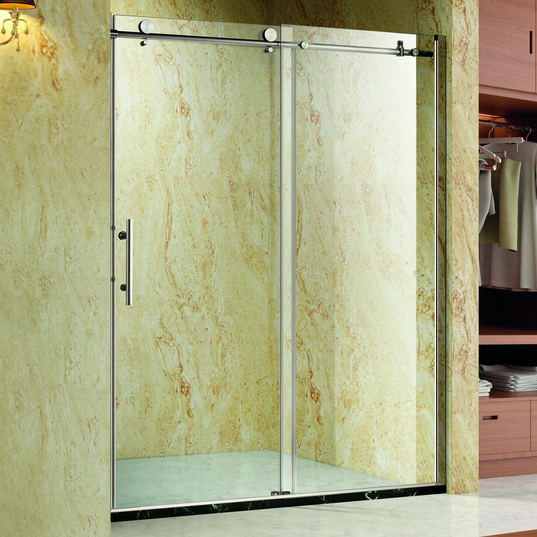 Homcom 48x76 Frameless Bath Sliding Shower Door Stainless Steel