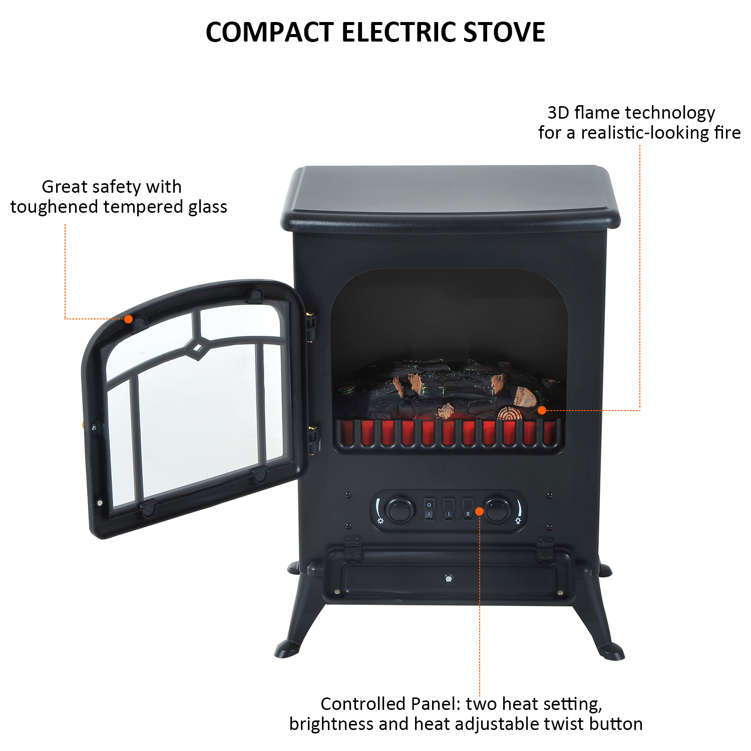 HOMCOM-750-1500W-Portable-Electric-Fireplace-Stove-Heater-Adjustable-LED-Flames thumbnail 5