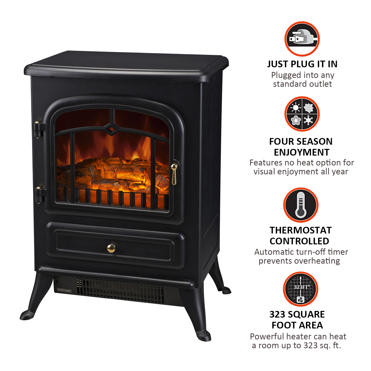 HOMCOM-750-1500W-Portable-Electric-Fireplace-Stove-Heater-Adjustable-LED-Flames thumbnail 6