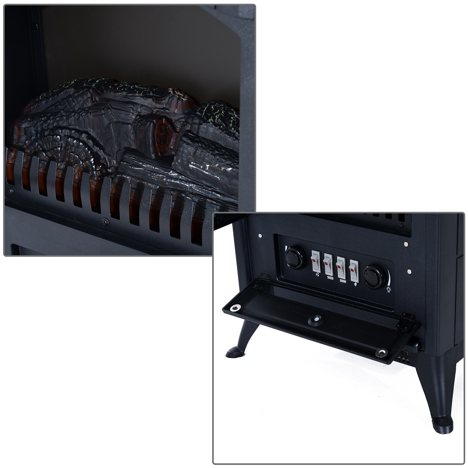 HOMCOM-750-1500W-Portable-Electric-Fireplace-Stove-Heater-Adjustable-LED-Flames thumbnail 7