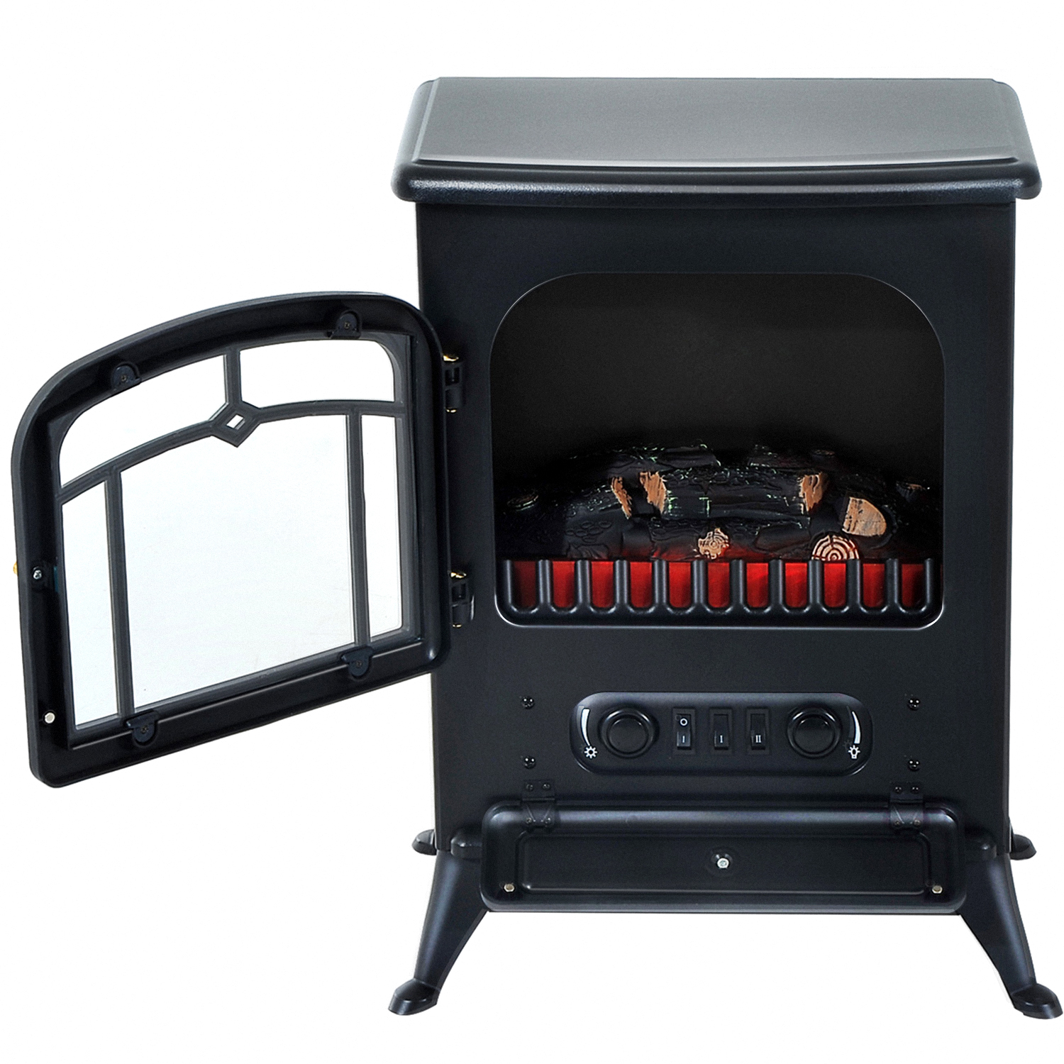 HOMCOM-750-1500W-Portable-Electric-Fireplace-Stove-Heater-Adjustable-LED-Flames thumbnail 8