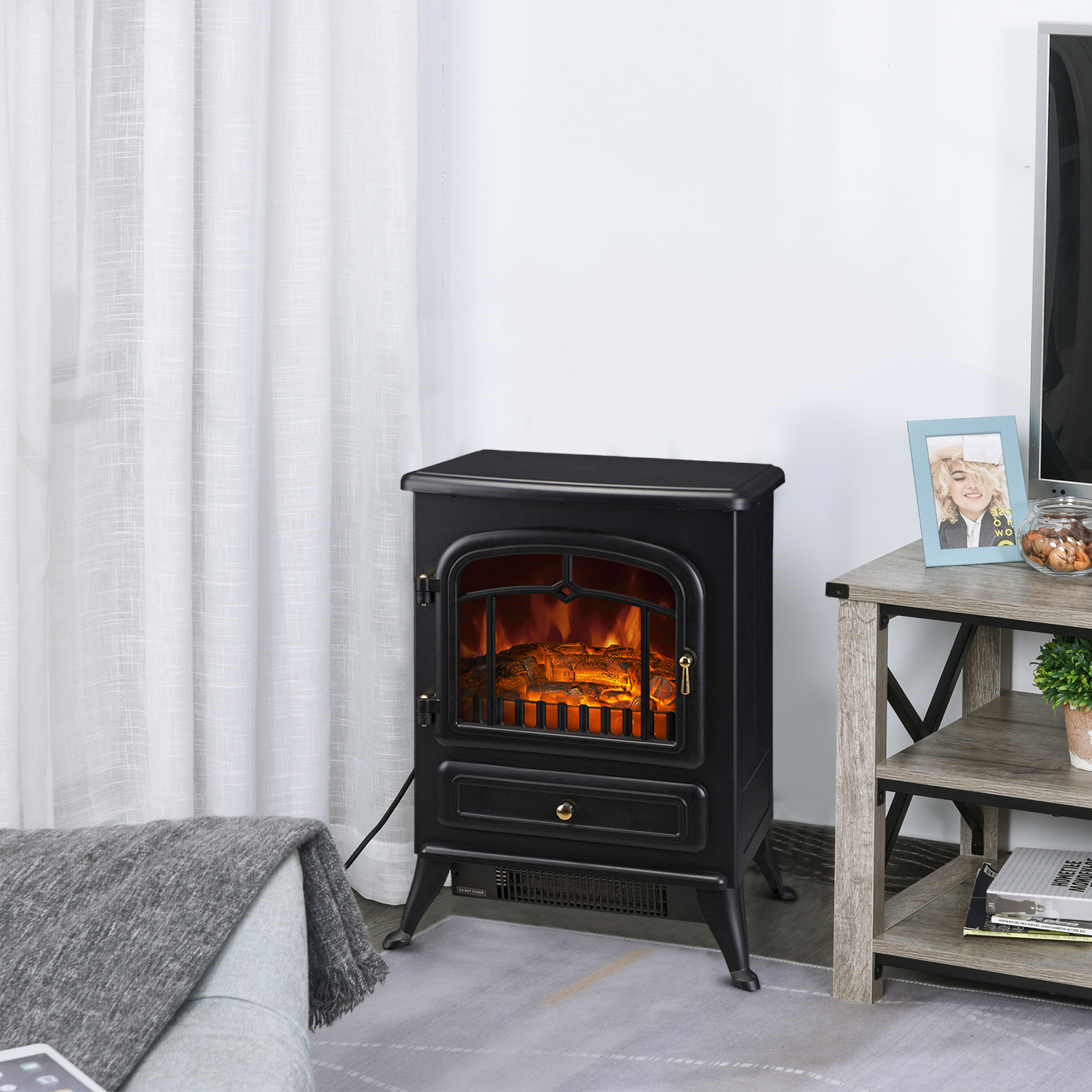 750w 1500w Adjust Electric Fireplace Free Standing Heater Wood Fire Flame Stove 603161409714 Ebay