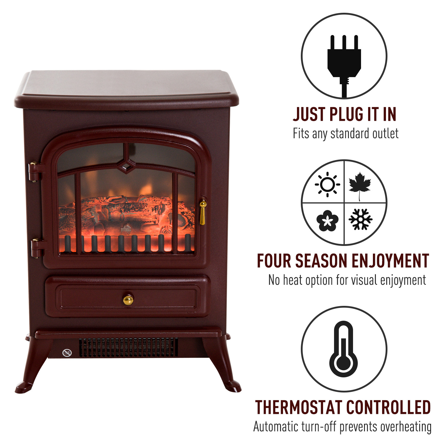 HOMCOM-750-1500W-Portable-Electric-Fireplace-Stove-Heater-Adjustable-LED-Flames thumbnail 11
