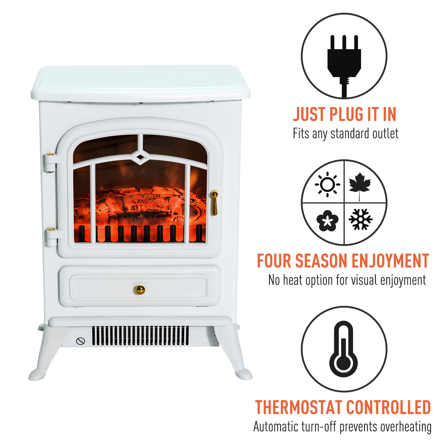 HOMCOM-750-1500W-Portable-Electric-Fireplace-Stove-Heater-Adjustable-LED-Flames thumbnail 19