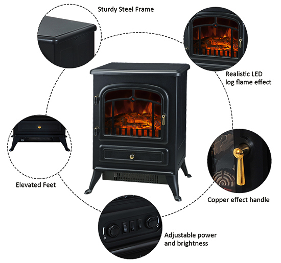 HOMCOM-750-1500W-Portable-Electric-Fireplace-Stove-Heater-Adjustable-LED-Flames thumbnail 4