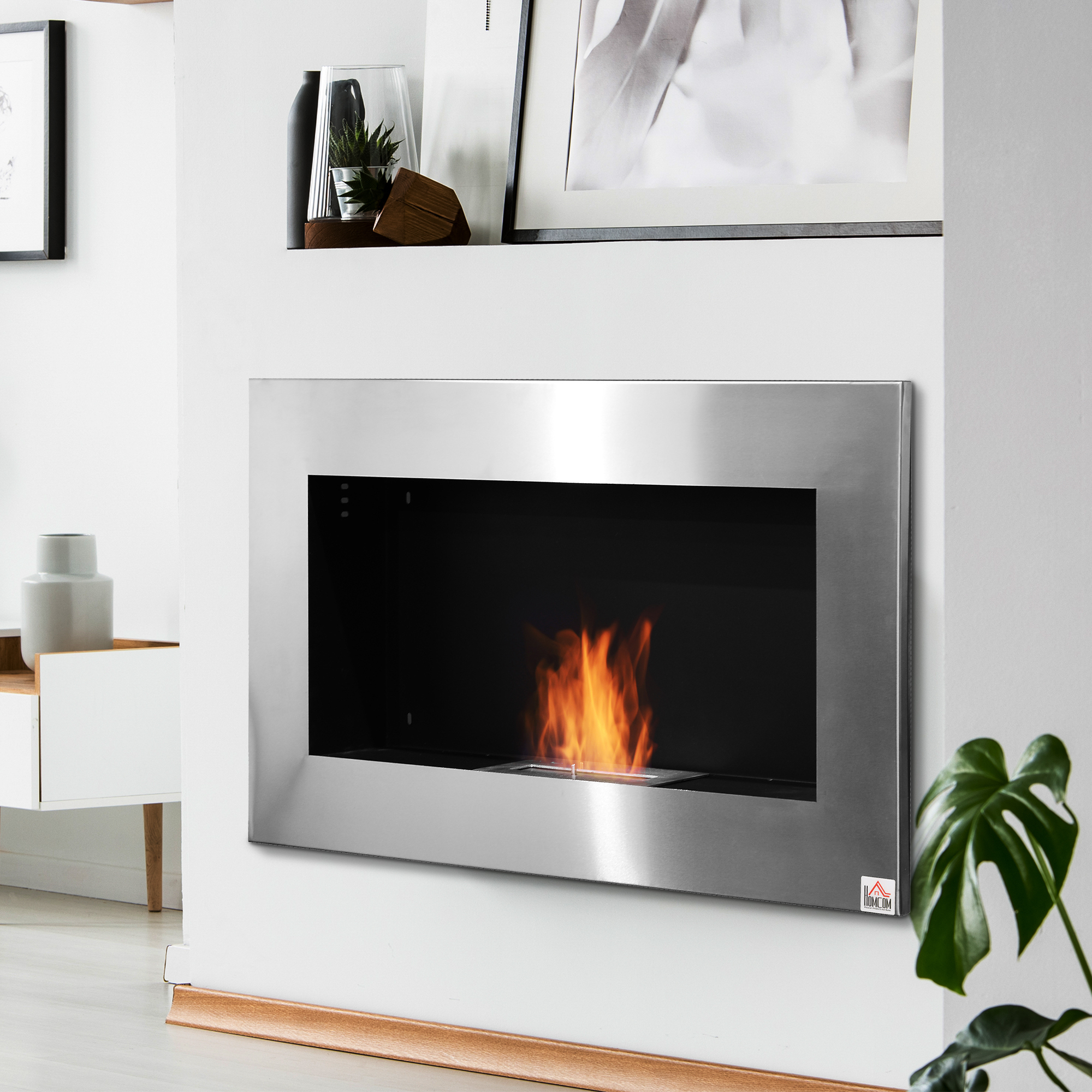 Contemporary Wall Mounted Ventless Bio Ethanol Fireplace Stainless
