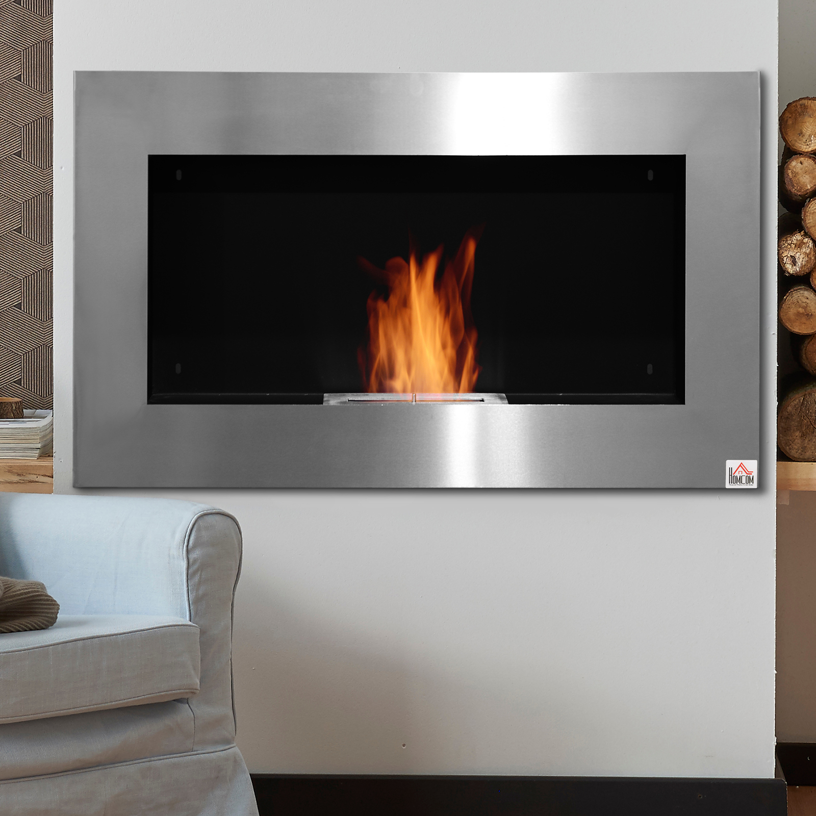 Details About 35 5 Modern Bio Ethanol Fireplace Insert Wall Mounted Inside Stainless Steel