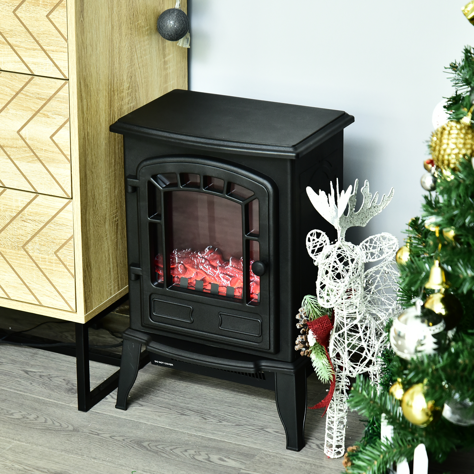 Electric Infrared Quartz Fireplace Stove LED Flame Effect Bl