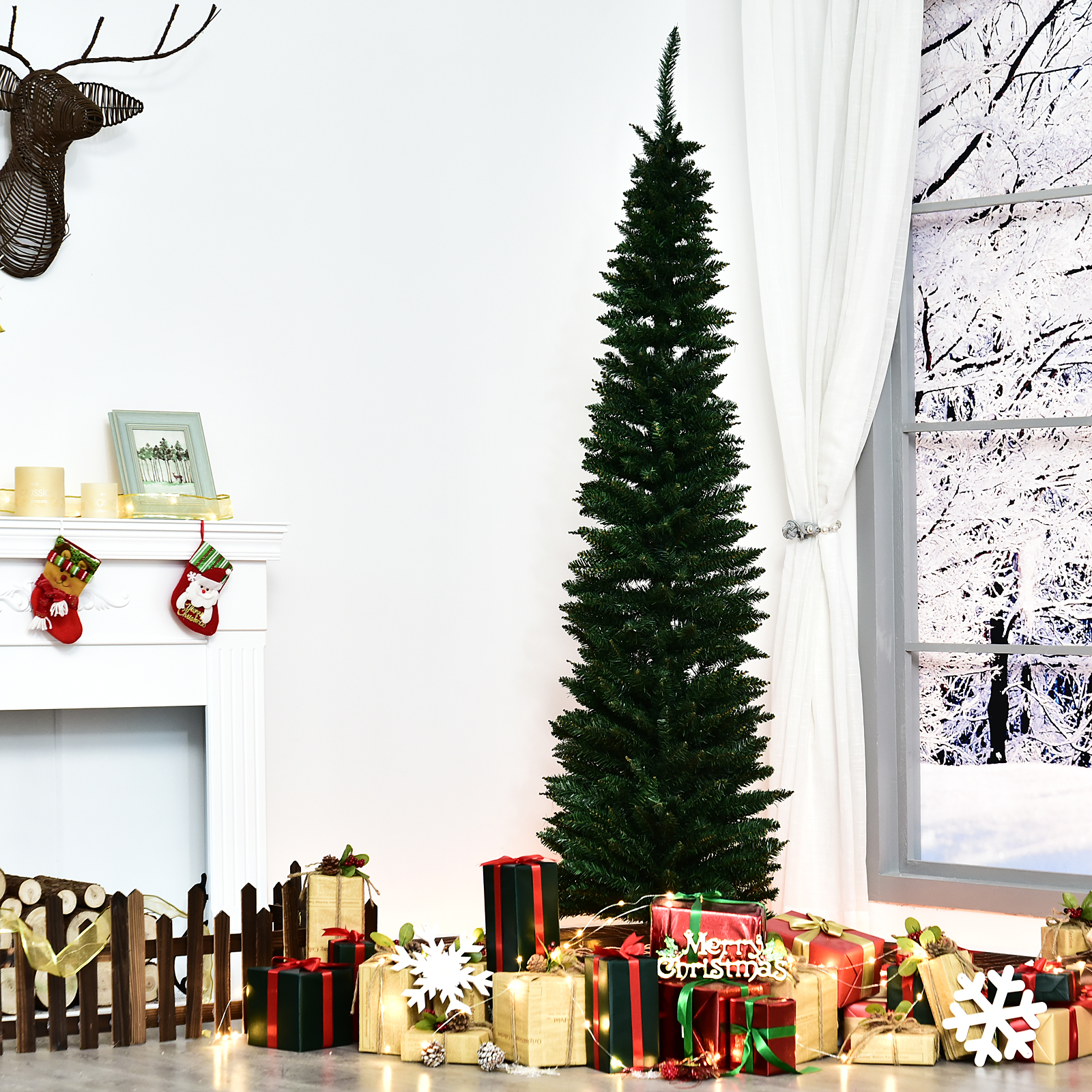 Tall Slim Christmas Trees Artificial.Details About 7 Pvc Slim Pencil Hinged Artificial Christmas Tree 390 Branch Tips