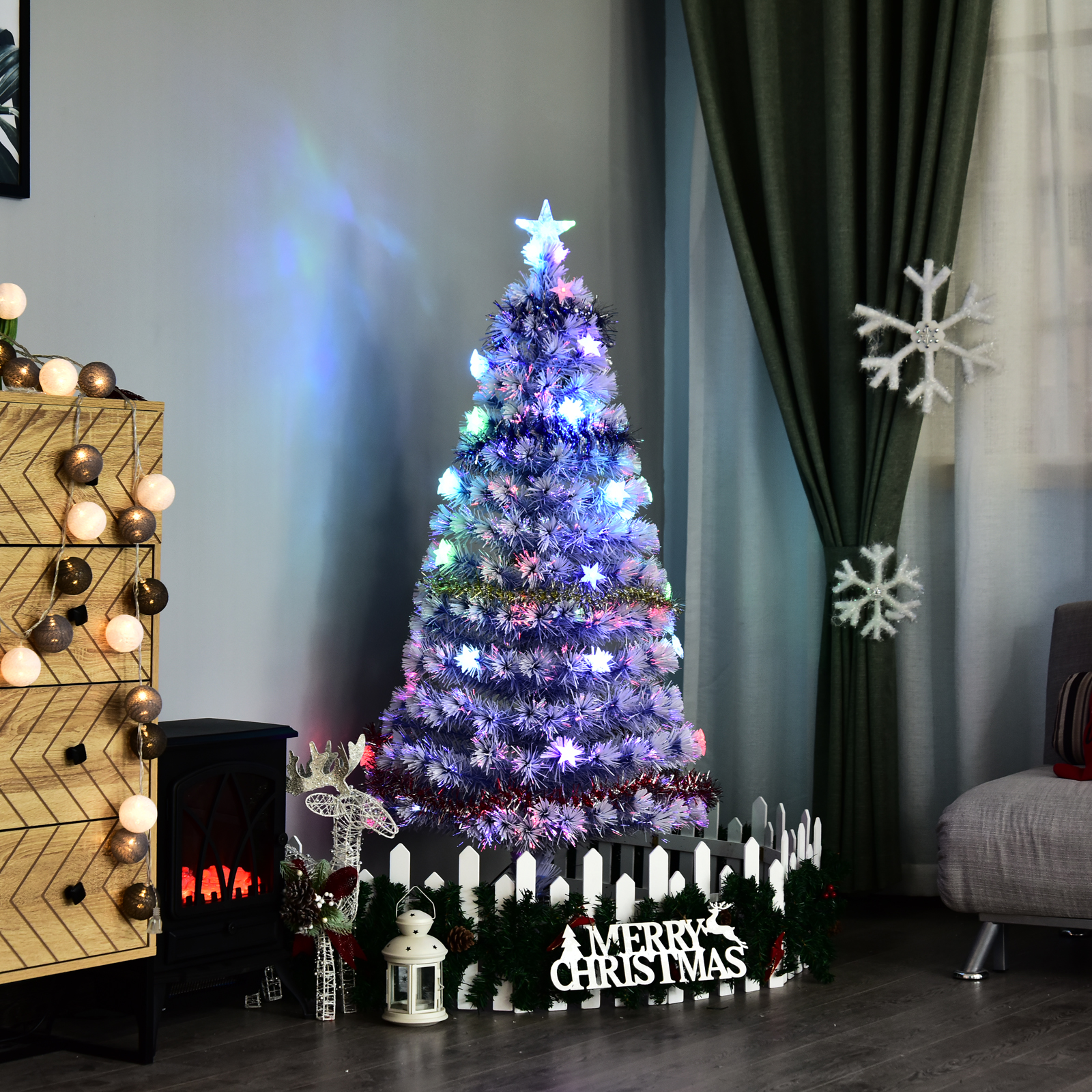 Details About 6 Pre Lit Fiber Optic Artificial Christmas Tree 26 Led Lights White