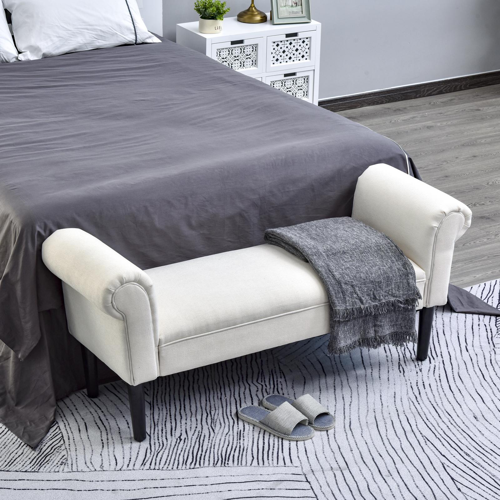 Homcom Deluxe 52 Linen Bed End Arm Bench Bedside Bench Footstool Home Decor 656114643338 Ebay