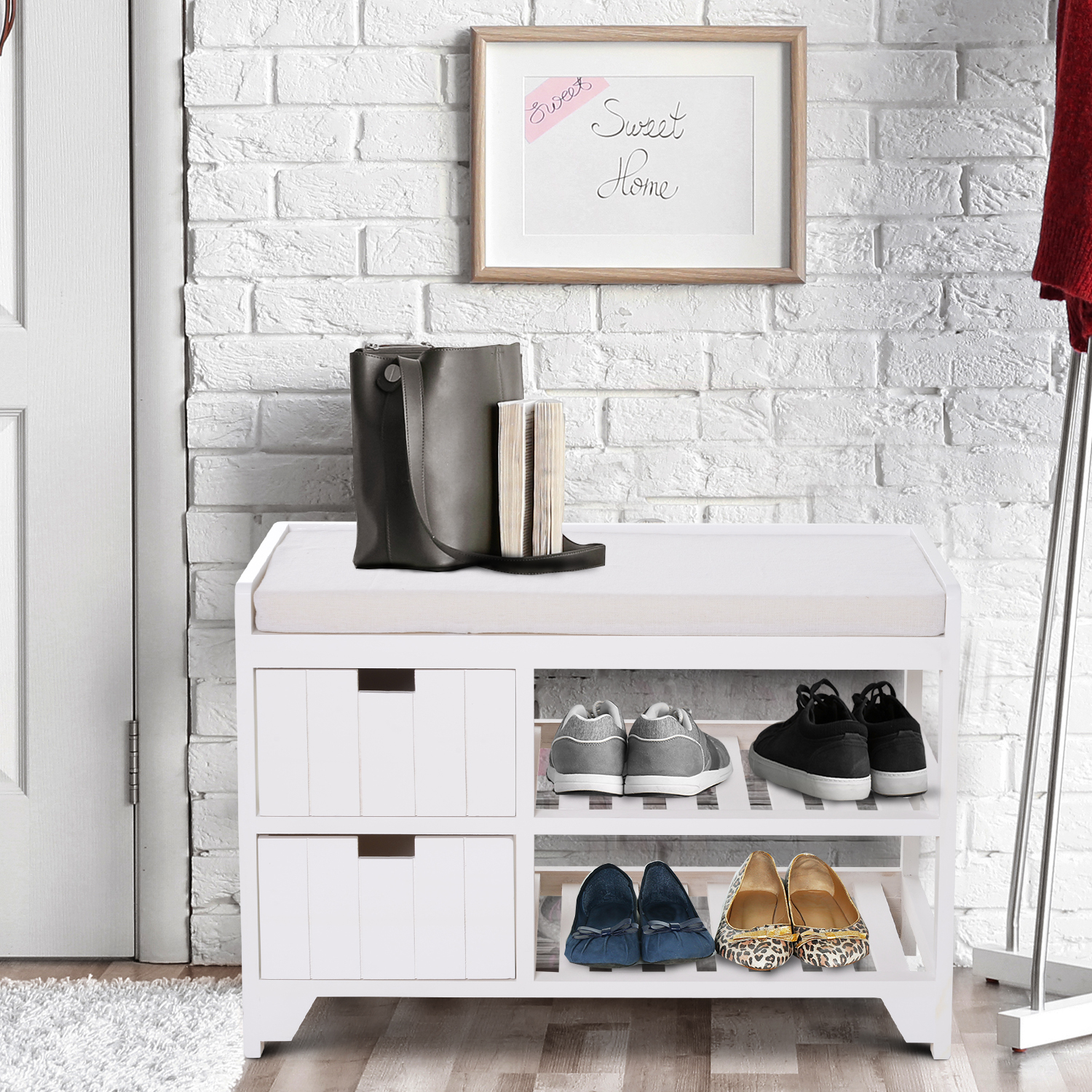 Picture of: Rustic Country Hall Entryway Small Wooden Shelf Bench Pull Out Drawers Slatted 712190179847 Ebay