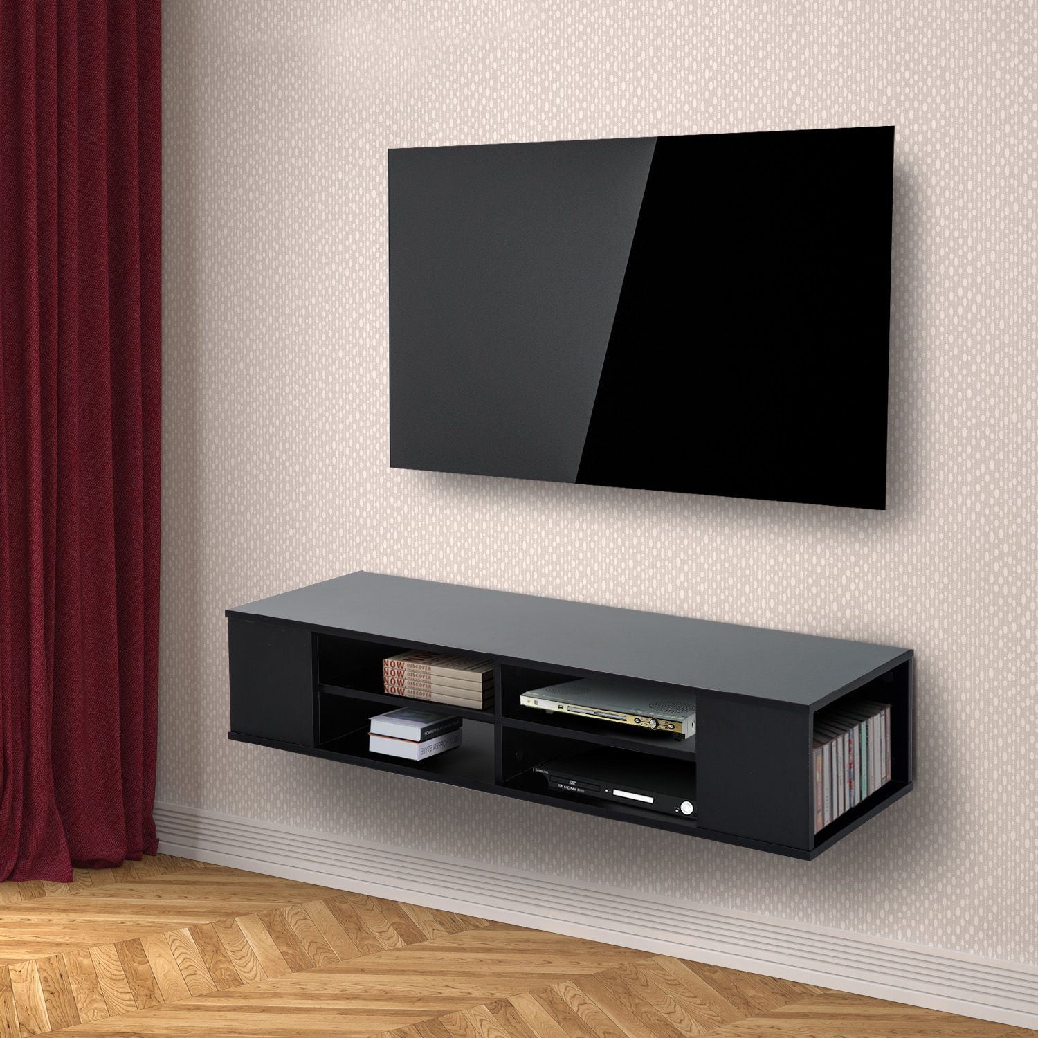 Modern Tv Unit: Modern 47 Floating Wall Mounted TV Stand Unit Cabinet