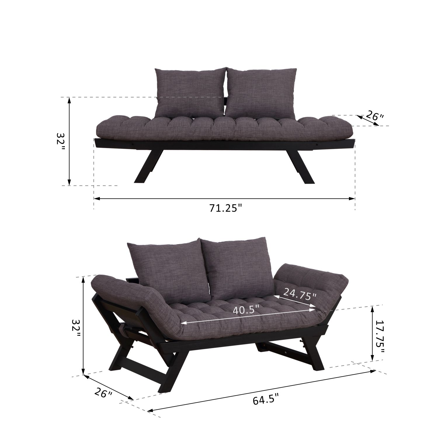 Convertible-Sofa-Bed-Sleeper-Couch-Chaise-Lounge-Chair-Adjustable-Padded-Pillow thumbnail 21