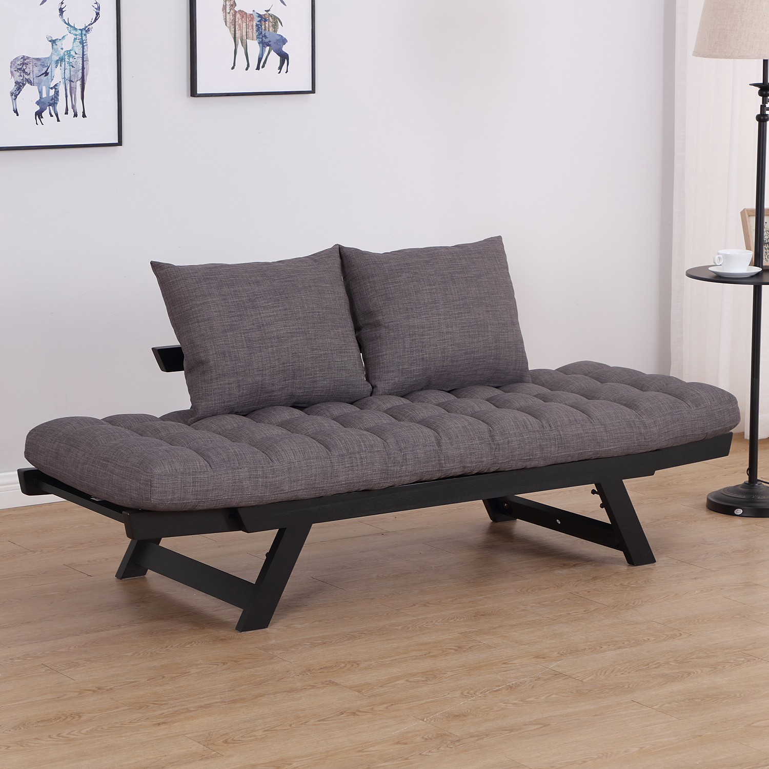 Convertible-Sofa-Bed-Sleeper-Couch-Chaise-Lounge-Chair-Adjustable-Padded-Pillow thumbnail 24