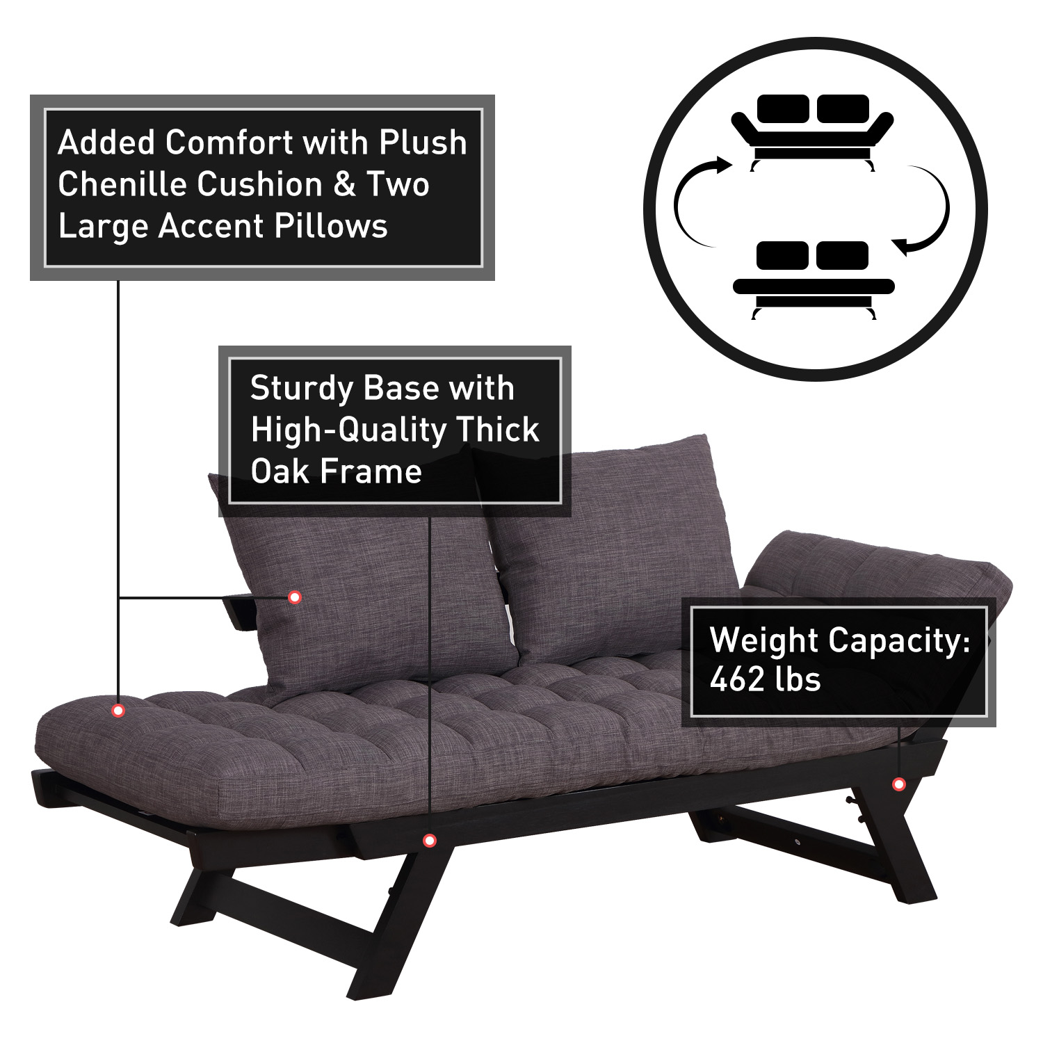 Convertible-Sofa-Bed-Sleeper-Couch-Chaise-Lounge-Chair-Adjustable-Padded-Pillow thumbnail 22