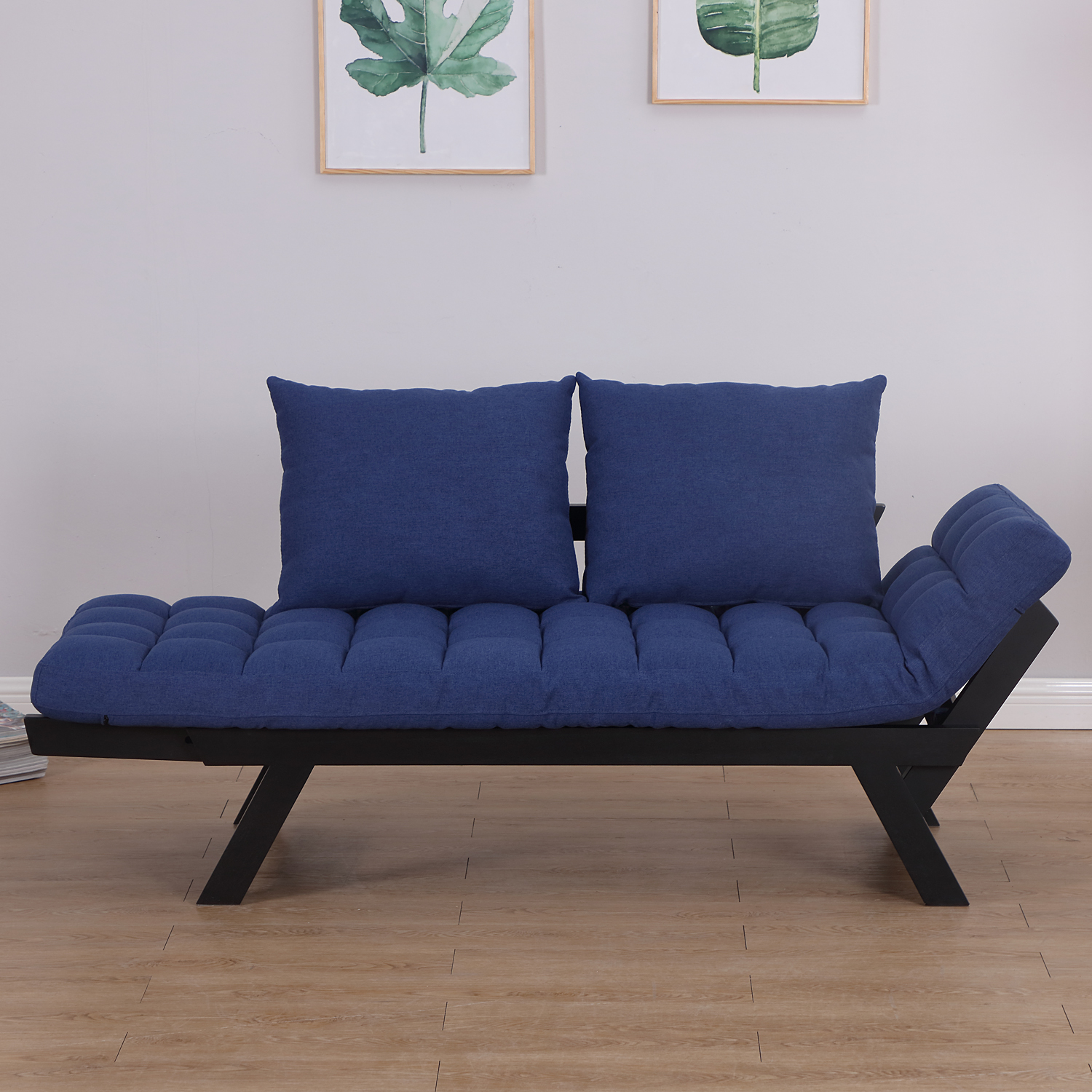 Convertible-Sofa-Bed-Sleeper-Couch-Chaise-Lounge-Chair-Adjustable-Padded-Pillow thumbnail 14