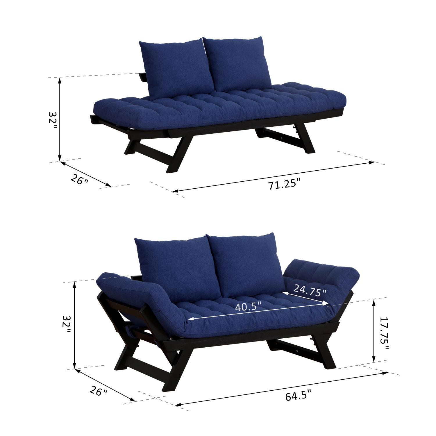 Convertible-Sofa-Bed-Sleeper-Couch-Chaise-Lounge-Chair-Adjustable-Padded-Pillow thumbnail 12