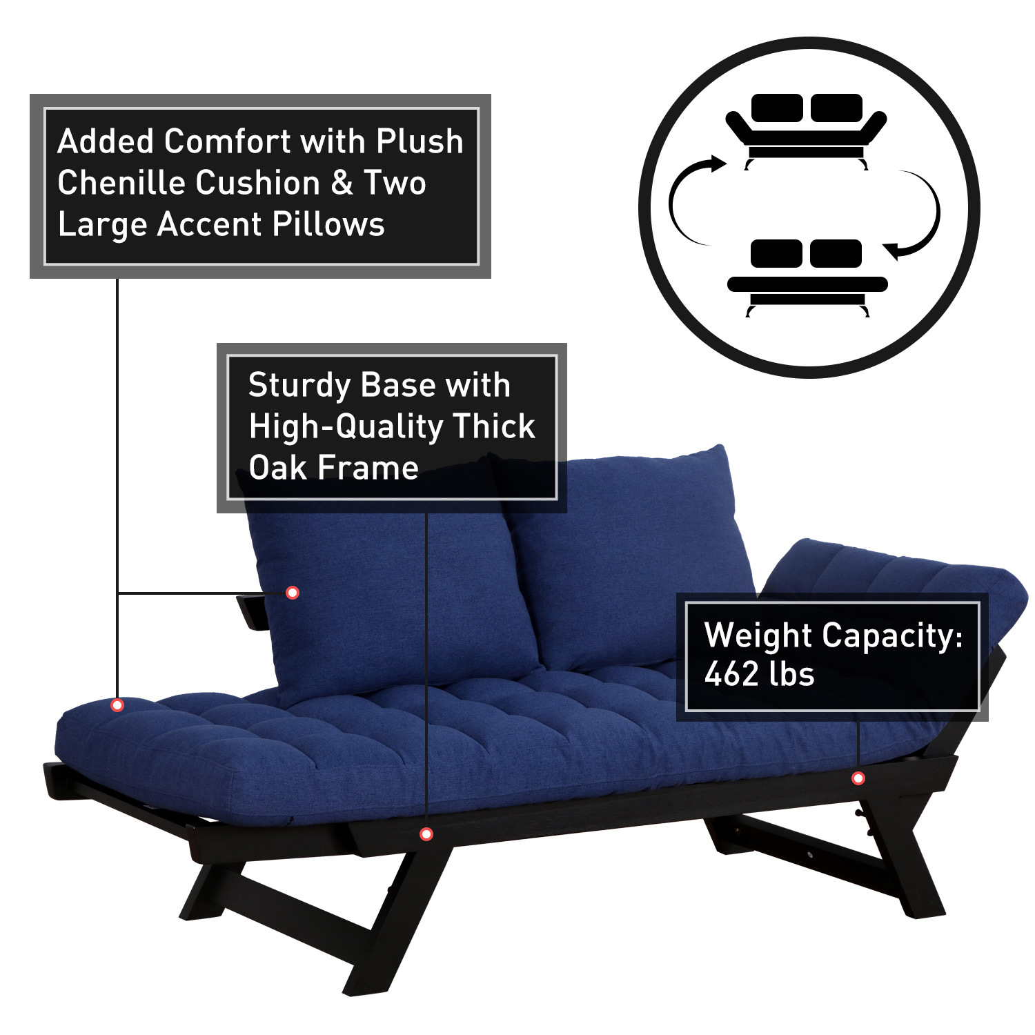 Convertible-Sofa-Bed-Sleeper-Couch-Chaise-Lounge-Chair-Adjustable-Padded-Pillow thumbnail 13