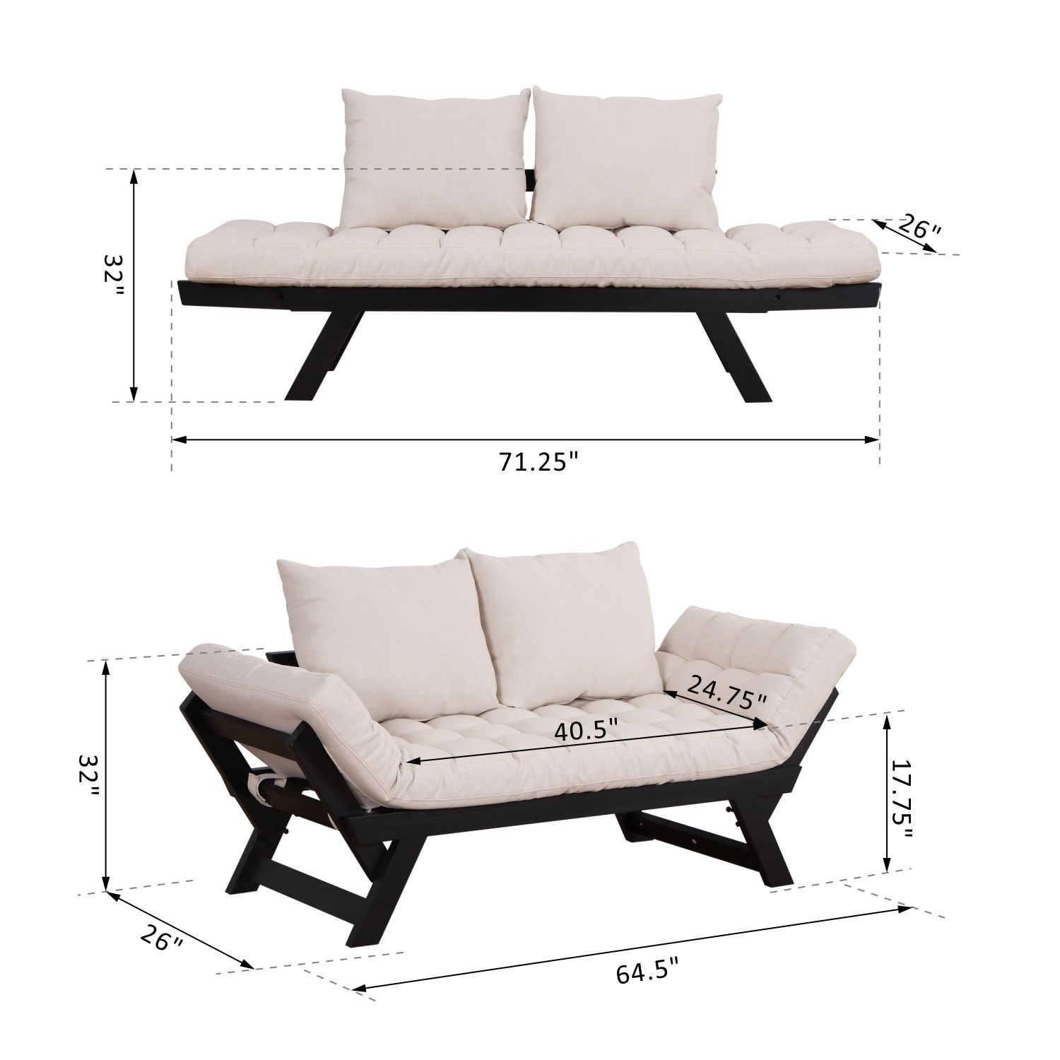 Convertible-Sofa-Bed-Sleeper-Couch-Chaise-Lounge-Chair-Adjustable-Padded-Pillow thumbnail 3