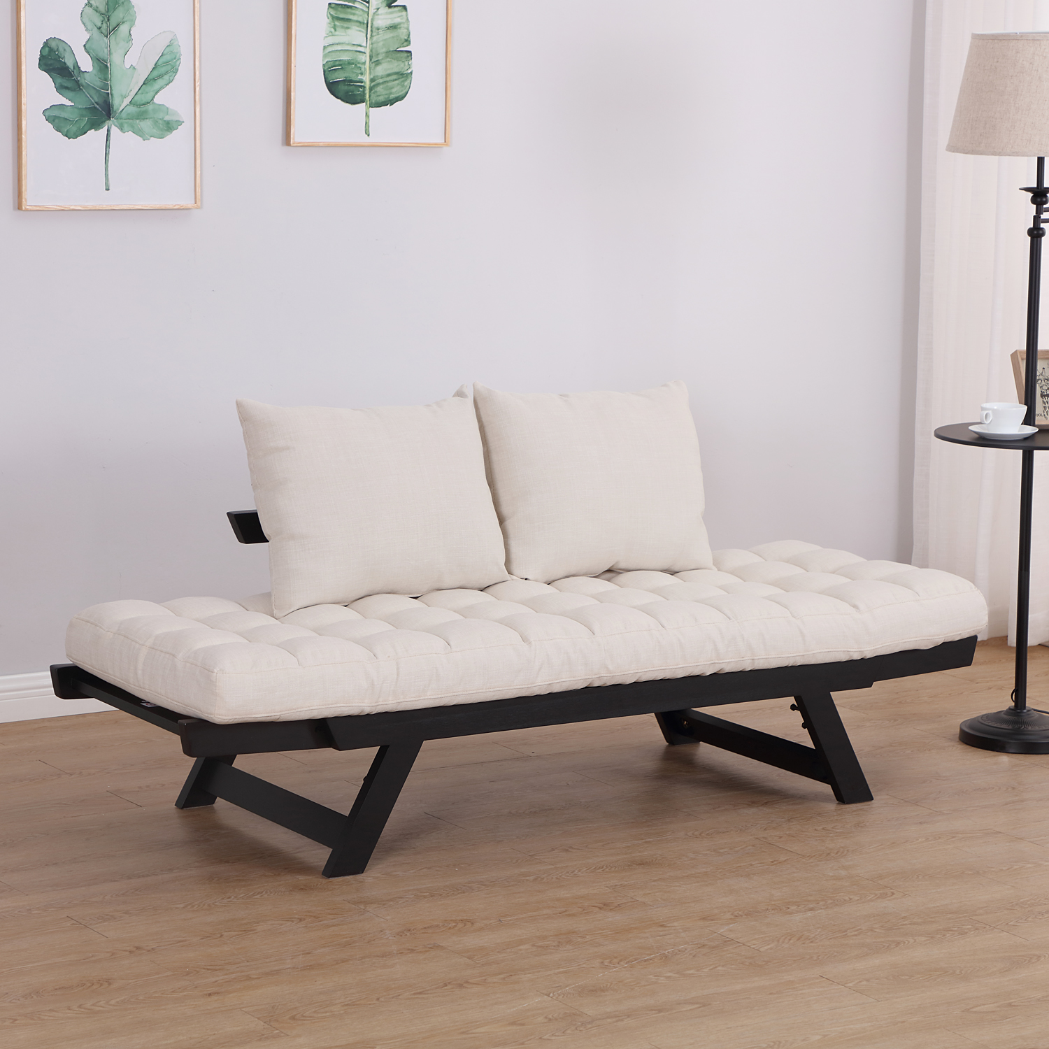 Convertible-Sofa-Bed-Sleeper-Couch-Chaise-Lounge-Chair-Adjustable-Padded-Pillow thumbnail 6
