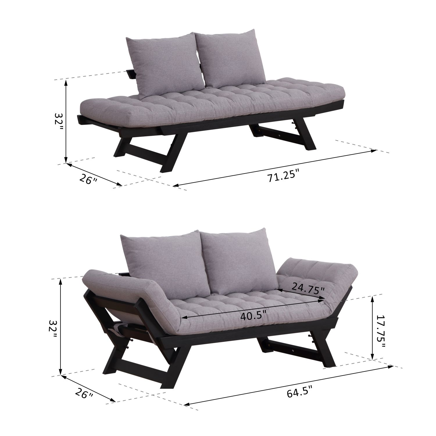 Convertible-Sofa-Bed-Sleeper-Couch-Chaise-Lounge-Chair-Adjustable-Padded-Pillow thumbnail 30