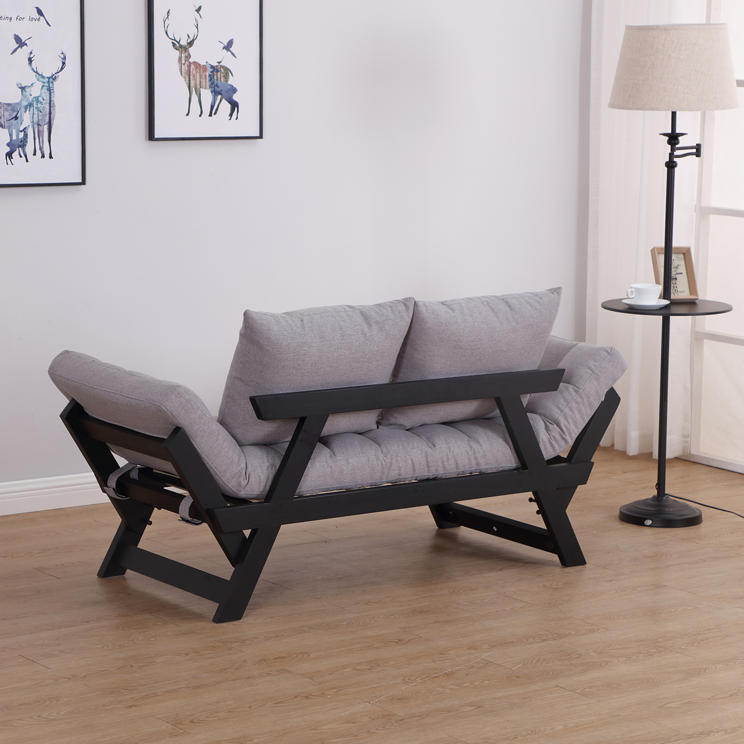Convertible-Sofa-Bed-Sleeper-Couch-Chaise-Lounge-Chair-Adjustable-Padded-Pillow thumbnail 34