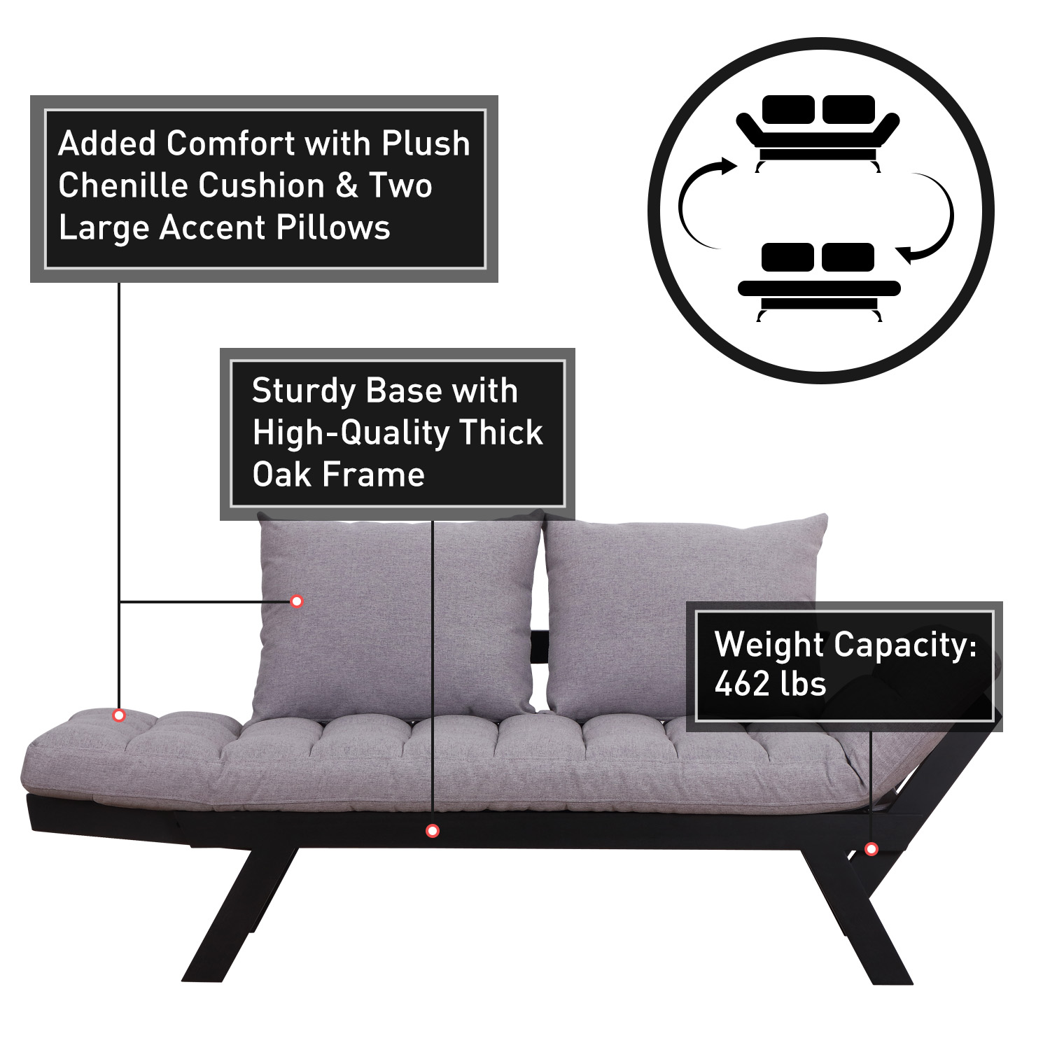 Convertible-Sofa-Bed-Sleeper-Couch-Chaise-Lounge-Chair-Adjustable-Padded-Pillow thumbnail 31