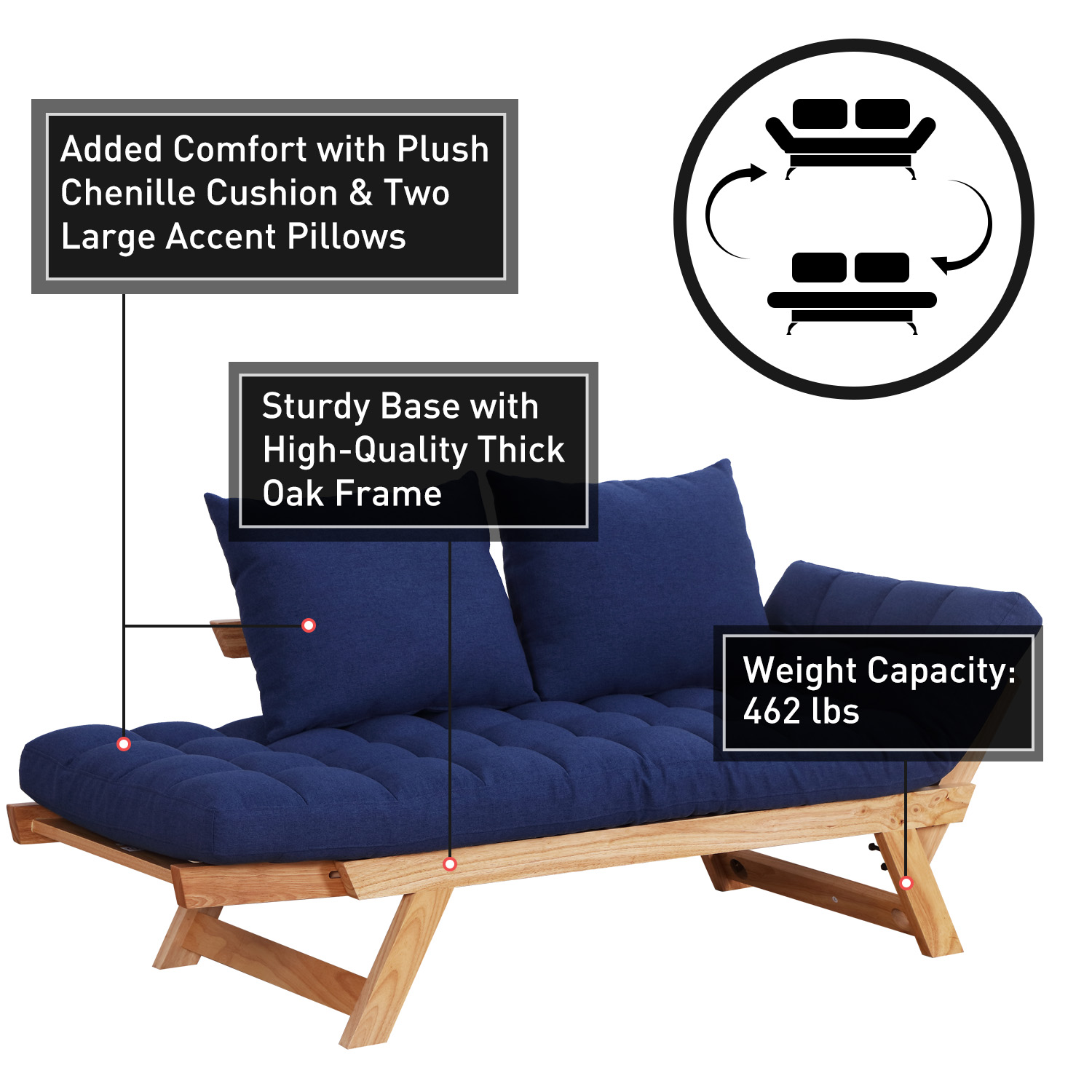 Convertible-Sofa-Bed-Sleeper-Couch-Chaise-Lounge-Chair-Adjustable-Padded-Pillow thumbnail 49