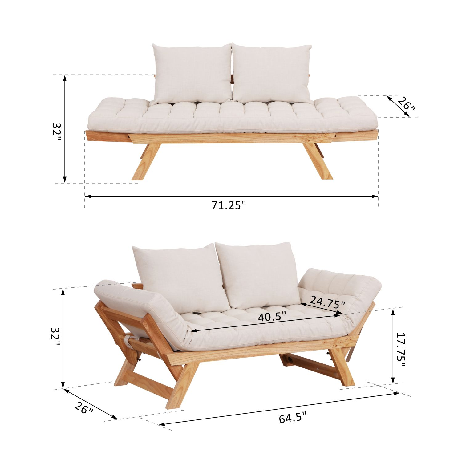Convertible-Sofa-Bed-Sleeper-Couch-Chaise-Lounge-Chair-Adjustable-Padded-Pillow thumbnail 39
