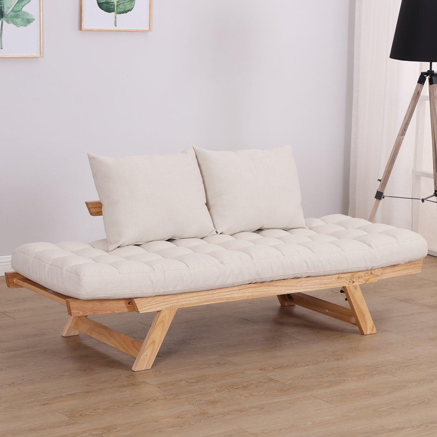 Convertible-Sofa-Bed-Sleeper-Couch-Chaise-Lounge-Chair-Adjustable-Padded-Pillow thumbnail 42
