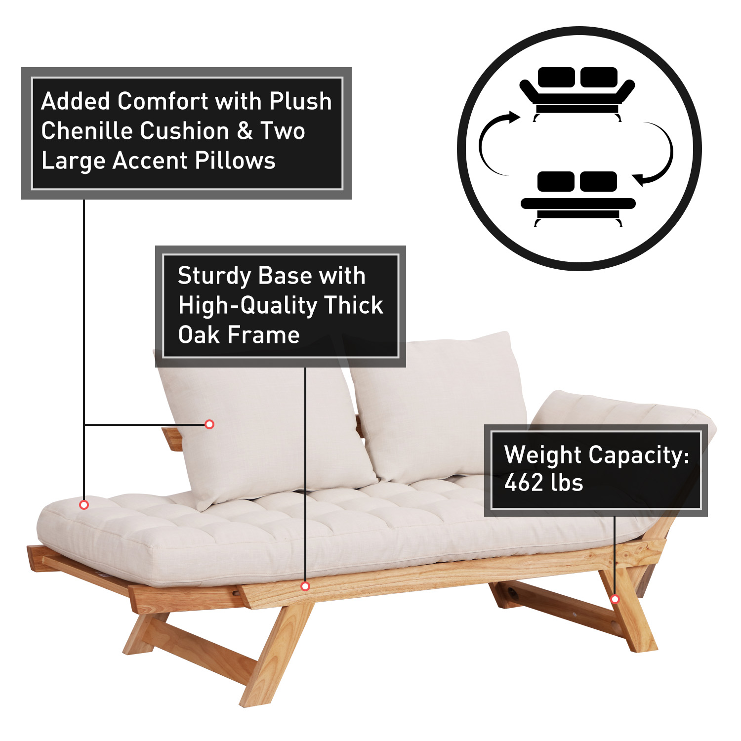Convertible-Sofa-Bed-Sleeper-Couch-Chaise-Lounge-Chair-Adjustable-Padded-Pillow thumbnail 40