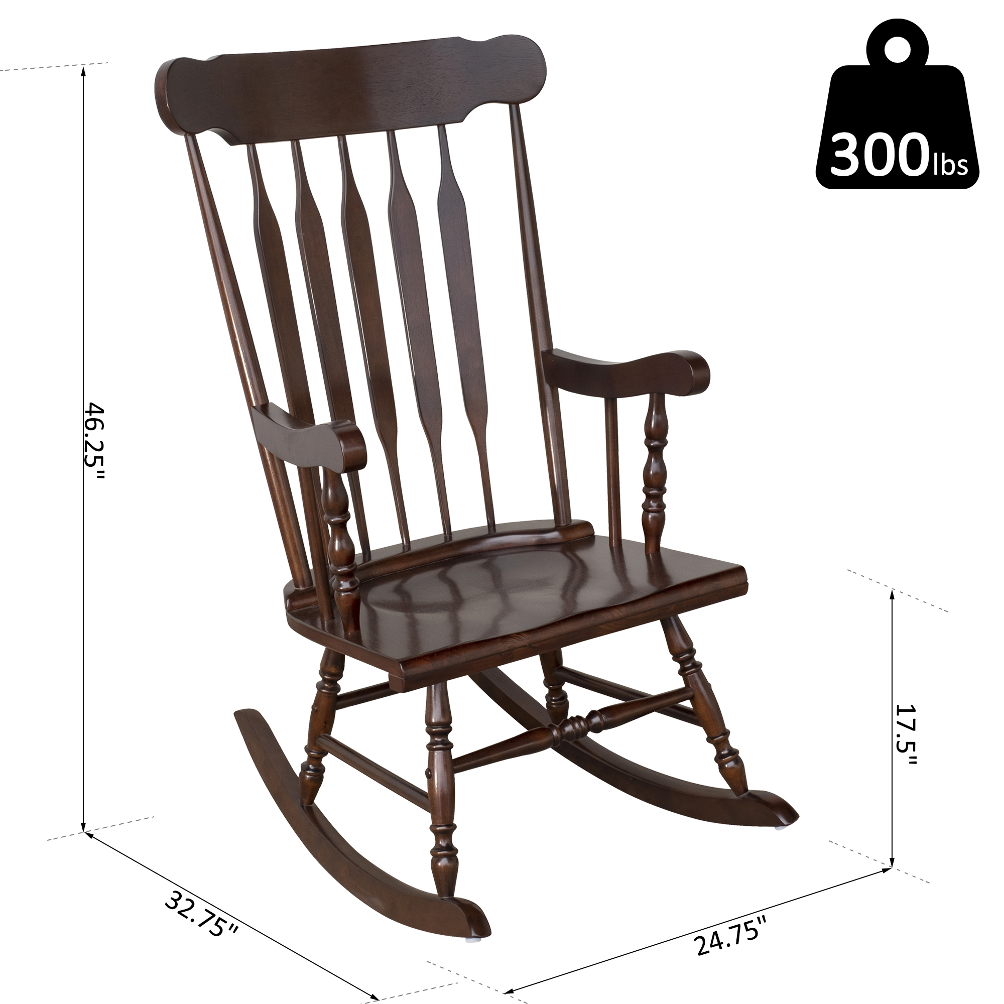 Traditional Slat Wood Rocking Chair Indoor Porch Rocker