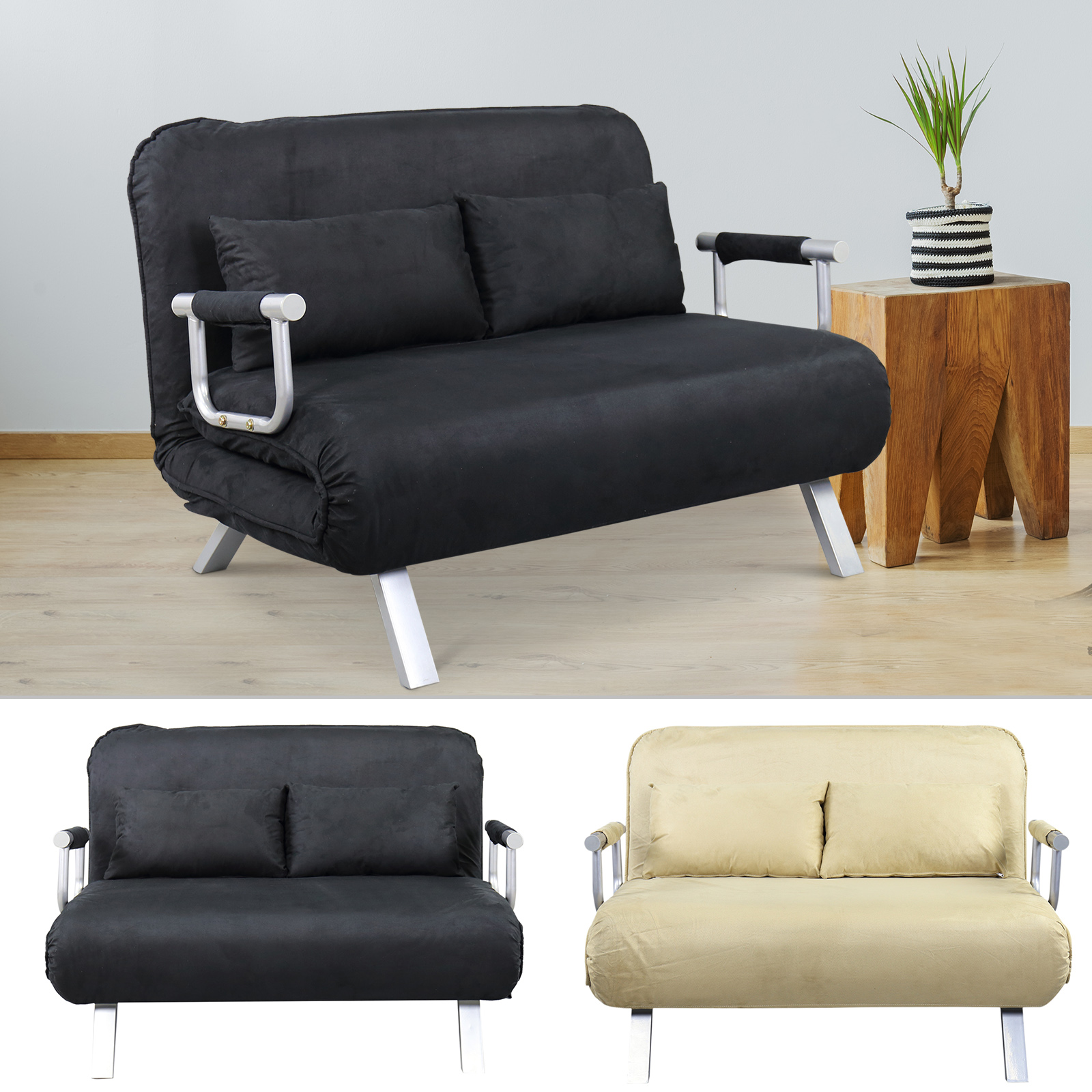 Details about Full Size Convertible Sofa Sleeper Bed Lounger Chair Faux  Suede Cover w/ Pillow