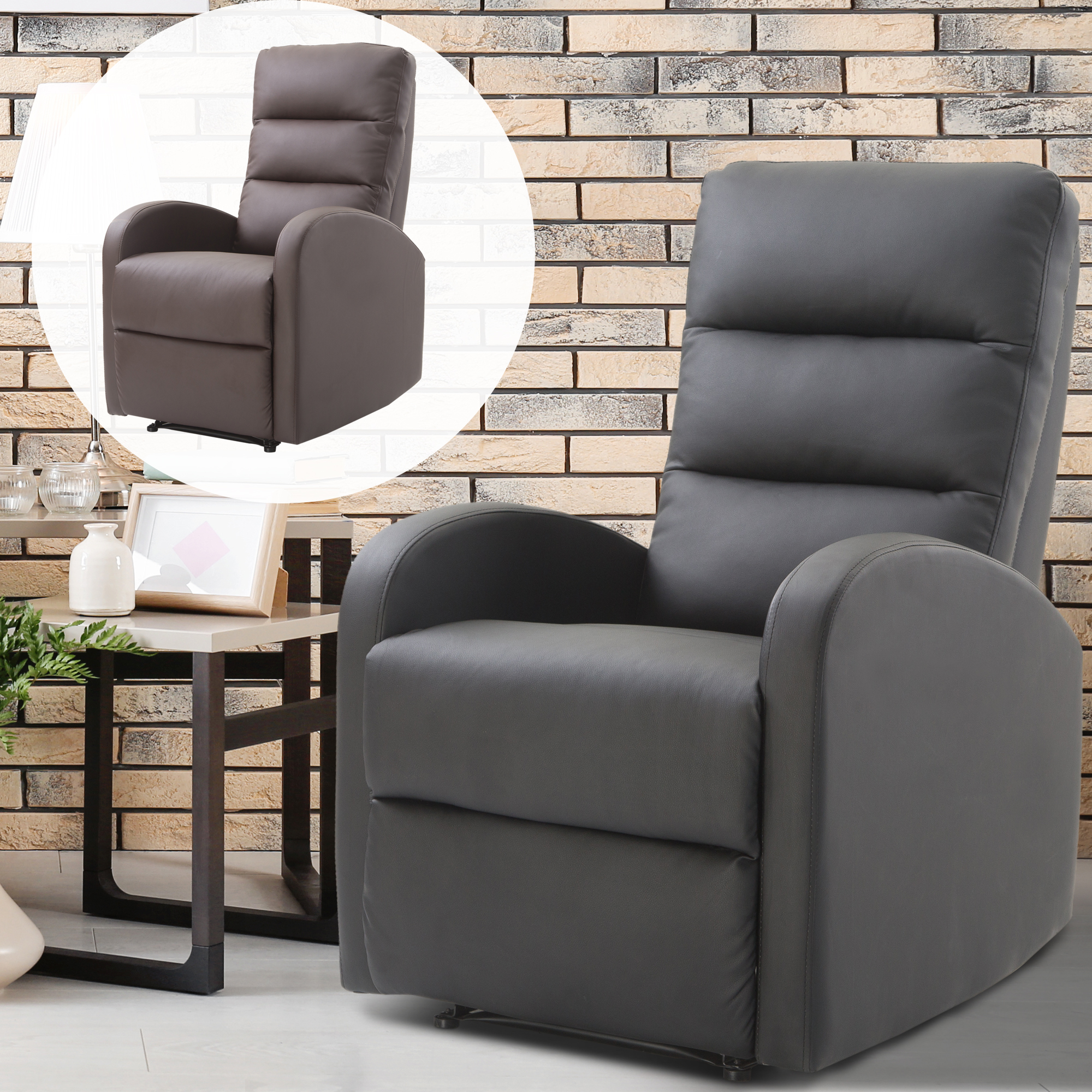 Details about pu leather recliner sofa armrest chair living room reclining furniture footrest