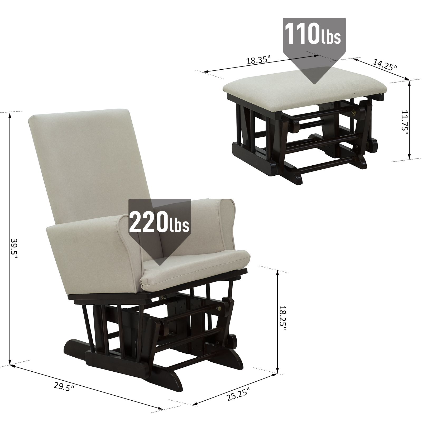 Outstanding Details About 2Pc Baby Nursery Relax Rocker Rocking Chair Glider Ottoman Sofa Set Andrewgaddart Wooden Chair Designs For Living Room Andrewgaddartcom