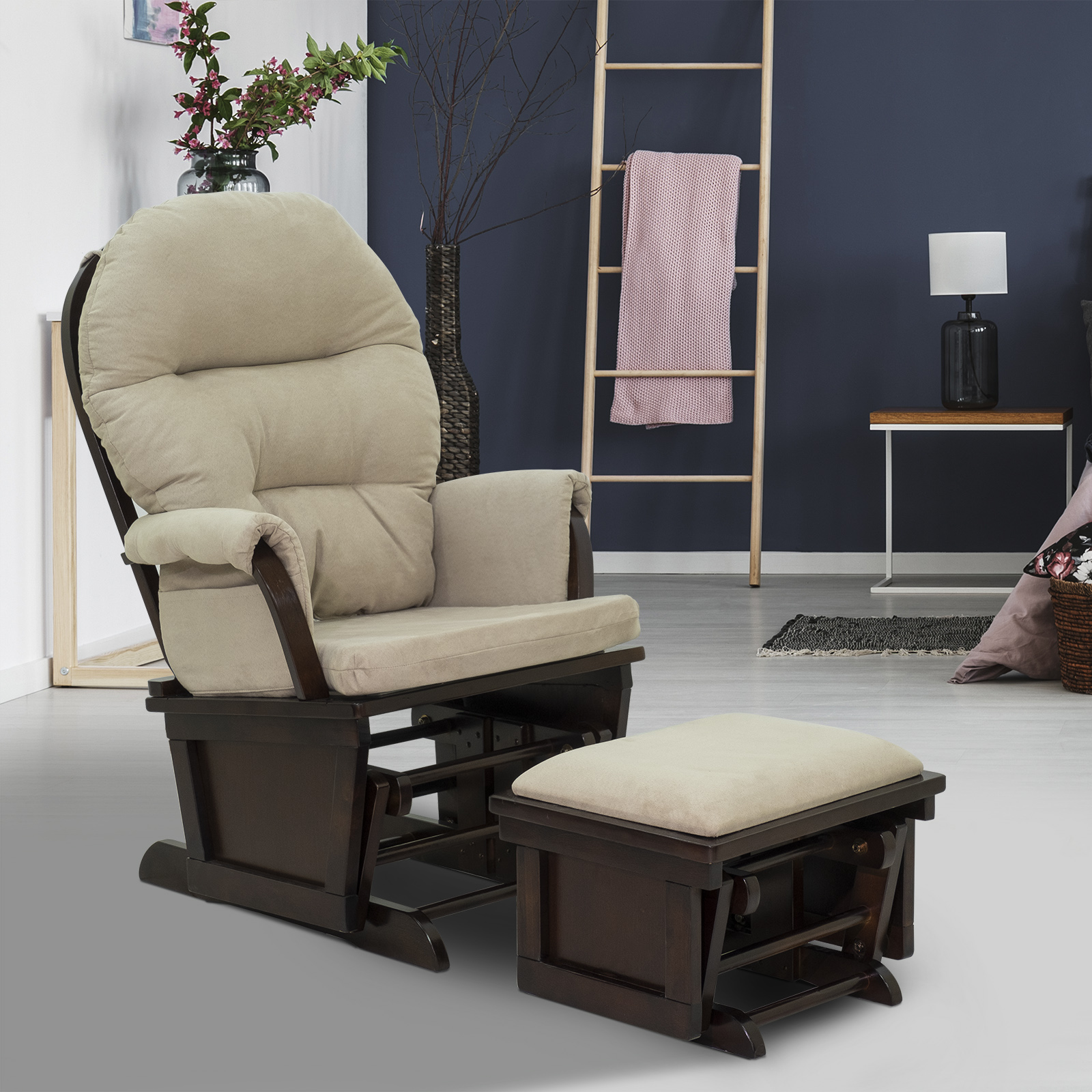 Image of: 2pc Nursery Glider Rocking Chair With Ottoman Set Suede Footrest Sofa 712190182236 Ebay