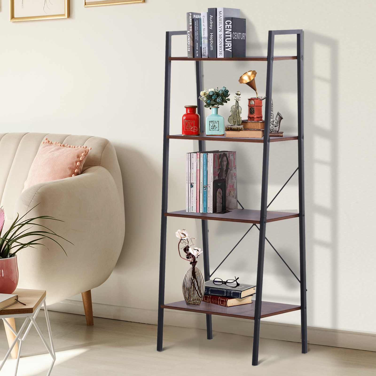 Details About Wooden Metal 4 Tier Vintage Rustic Industrial Ladder Style Bookcase Shelf