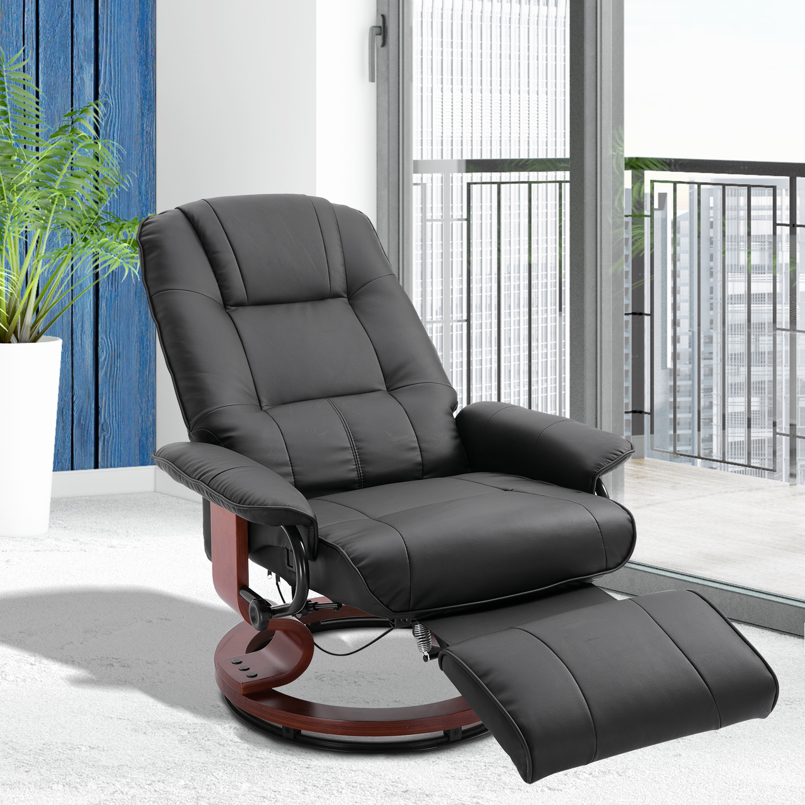 Details about Faux Leather Adjustable Traditional Manual Swivel Recliner Chair Ottoman Black